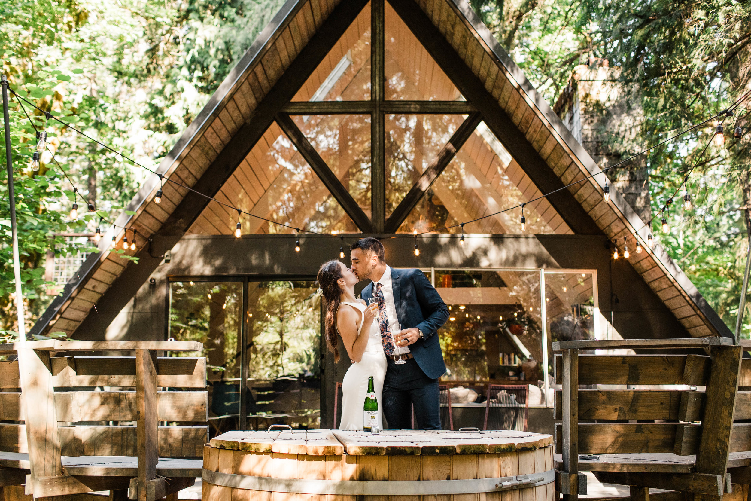 elopement champagne toast in Mt Rainier National Park | Seattle adventure wedding and elopement photographers