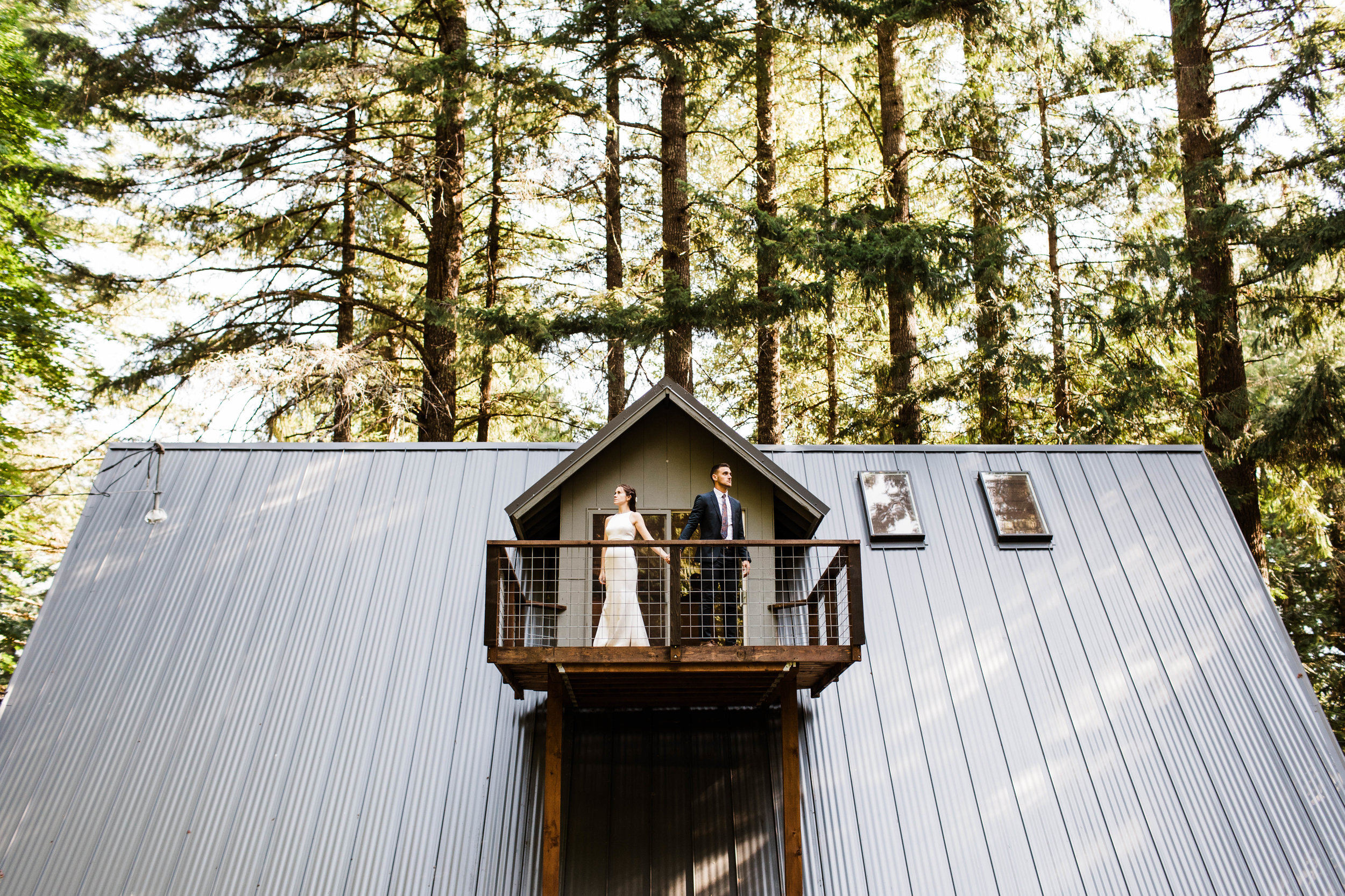 woodsy mountain elopement photos outside an a-frame cabin in Mt Rainier National Park | adventure wedding photographers in Seattle Washington