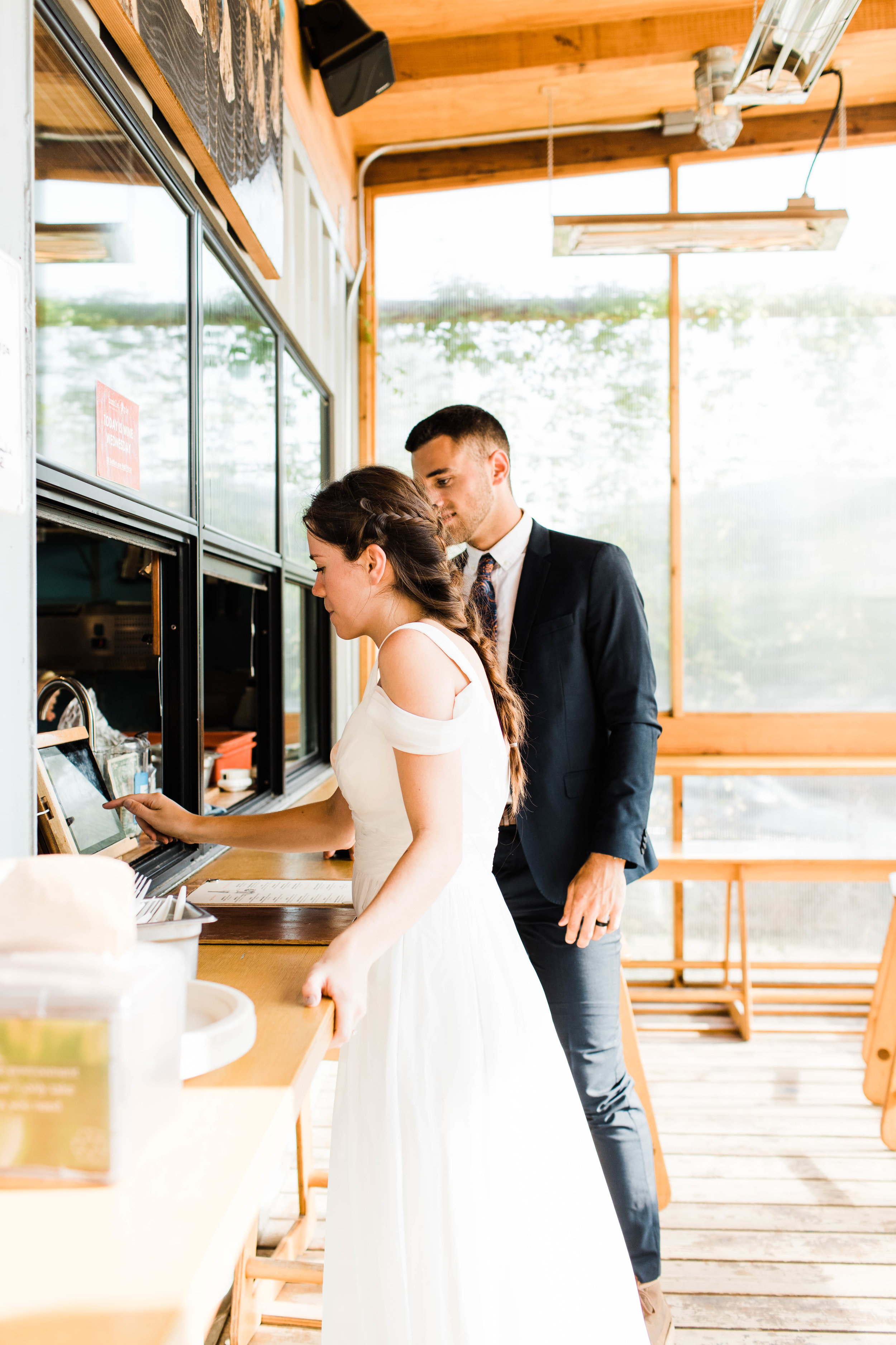 post-elopement pizza dinner at Humble Pie in Seattle Washington | Mt Rainier National Park wedding photographers