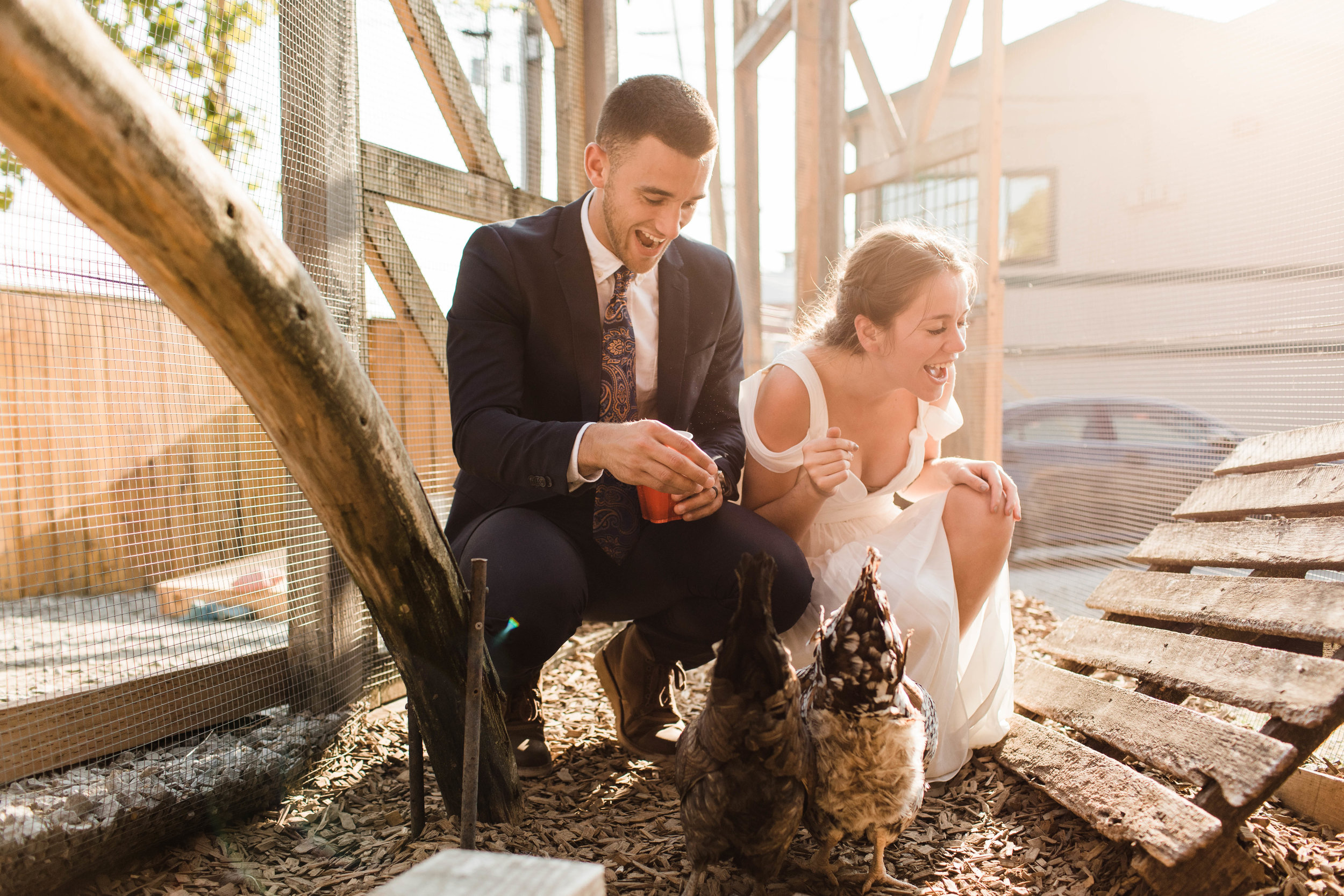 couple feeding the chickens at Humble Pie in Seattle Washington after their Mt Rainier elopement | Washington state adventure wedding photographers