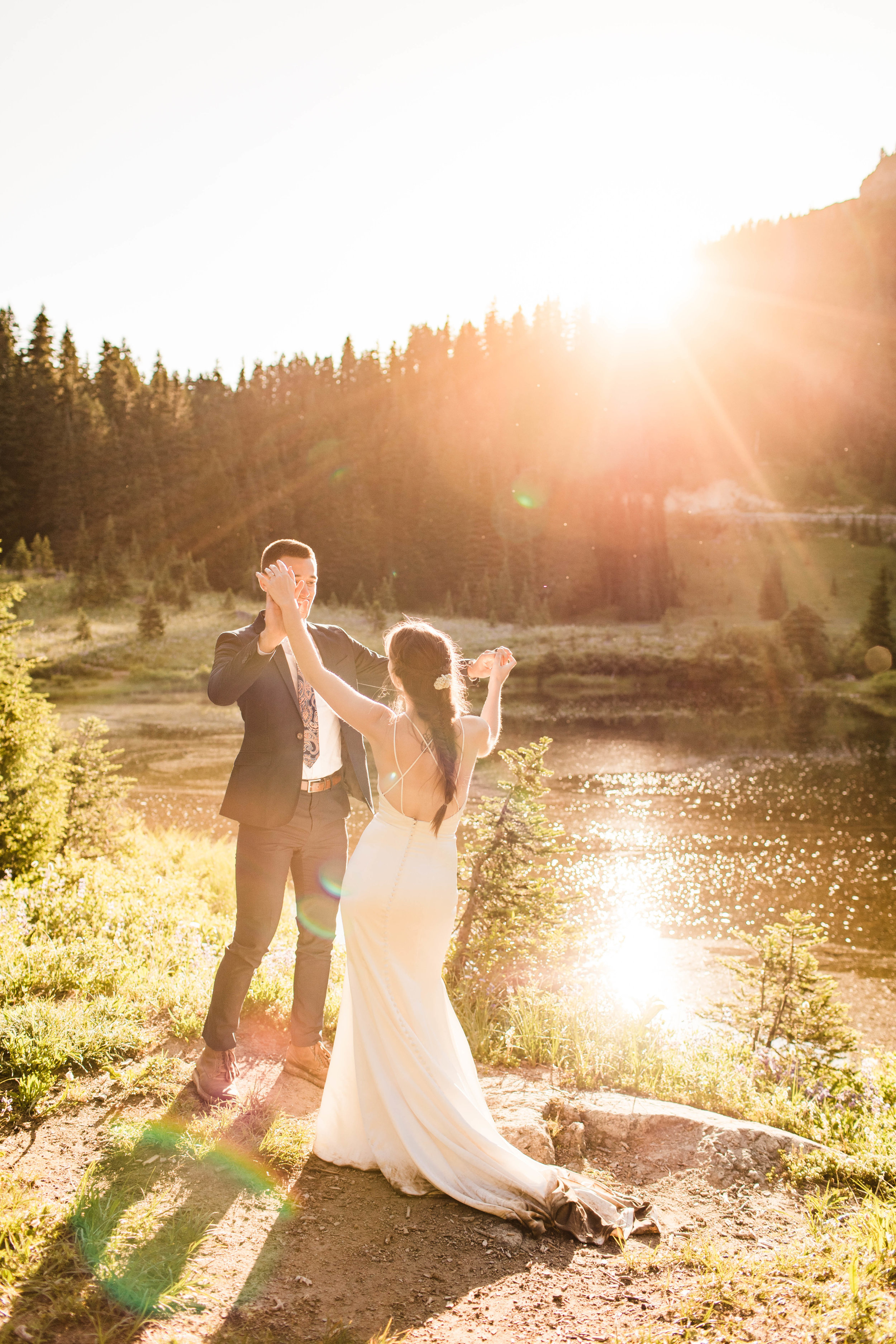 first dance after eloping in Mount Rainier National Park | Washington state elopement photographers