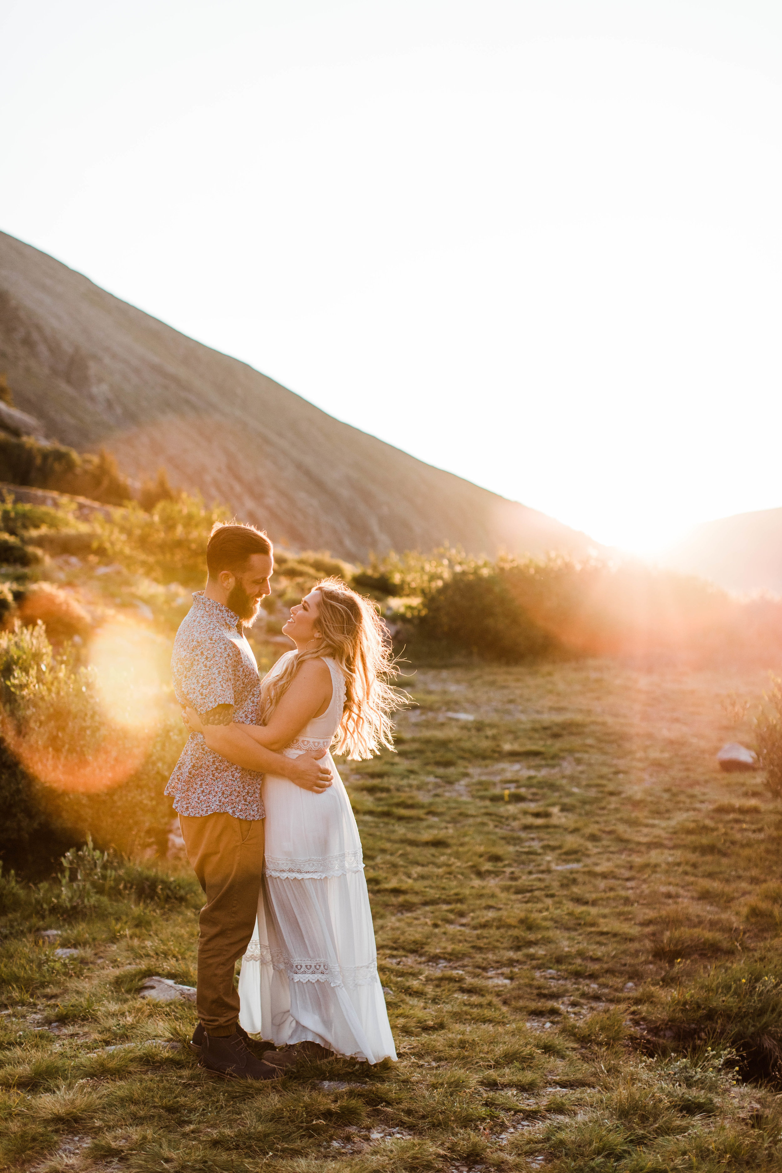 sunrise Breckenridge elopement style photos during an engaged couple's mountain adventure engagement photos | Breckenridge adventure wedding photographers