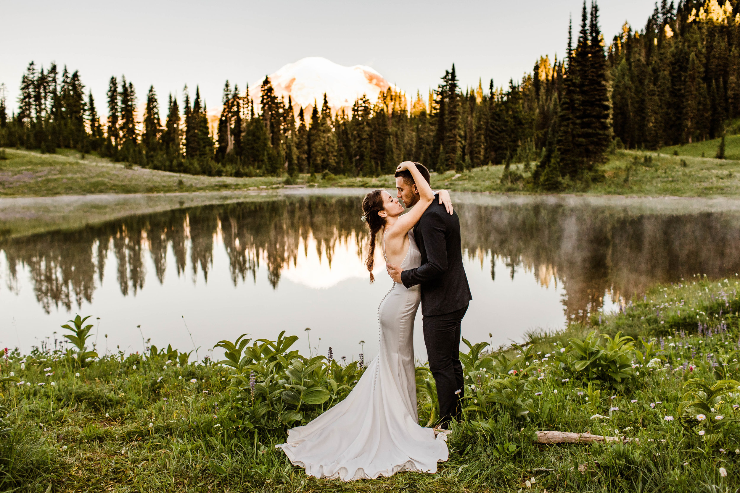 Mount Rainier National Park elopement ceremony at an alpine lake | Washington state adventure wedding photographers