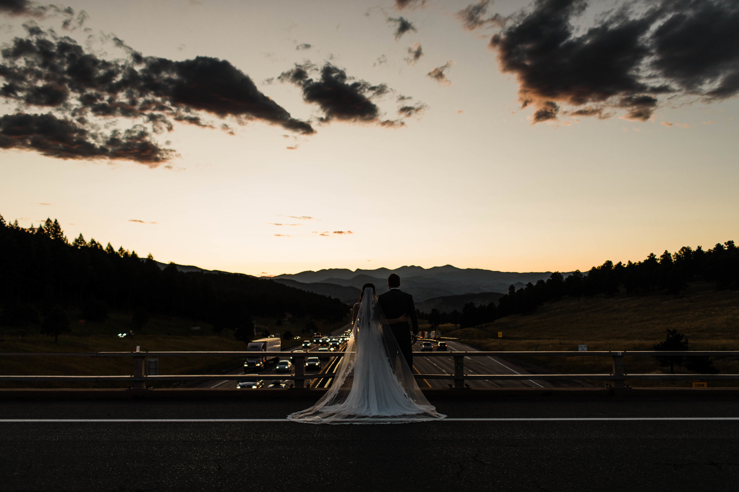 Intimate wedding at sunset in Colorado on i70 | Best Colorado elopement photographers