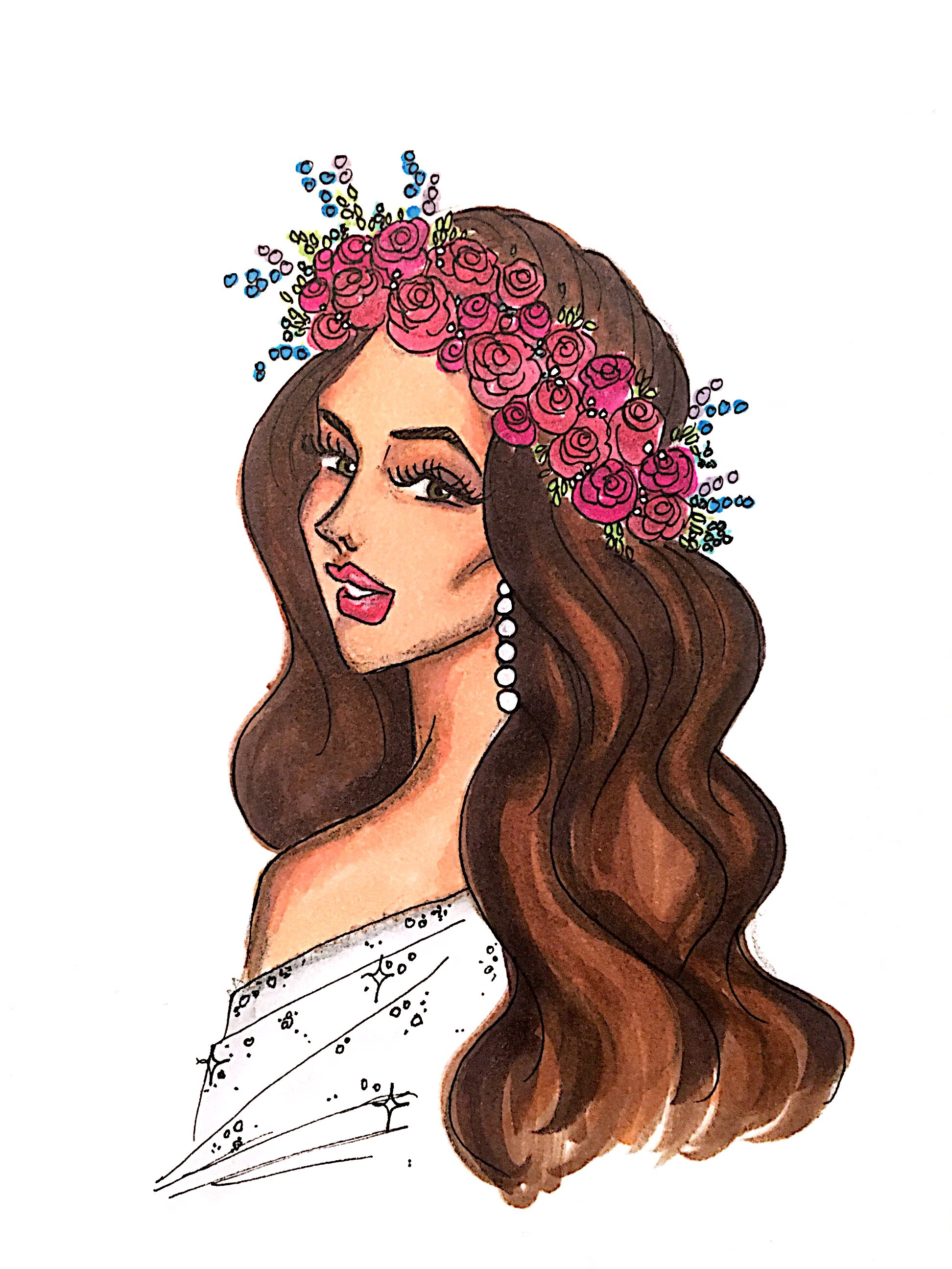 want to commission an original bridal illustration? - Contact me at sara@saranovela.com today for bridal portraits, bridesmaid cards, wedding invitations, etc.