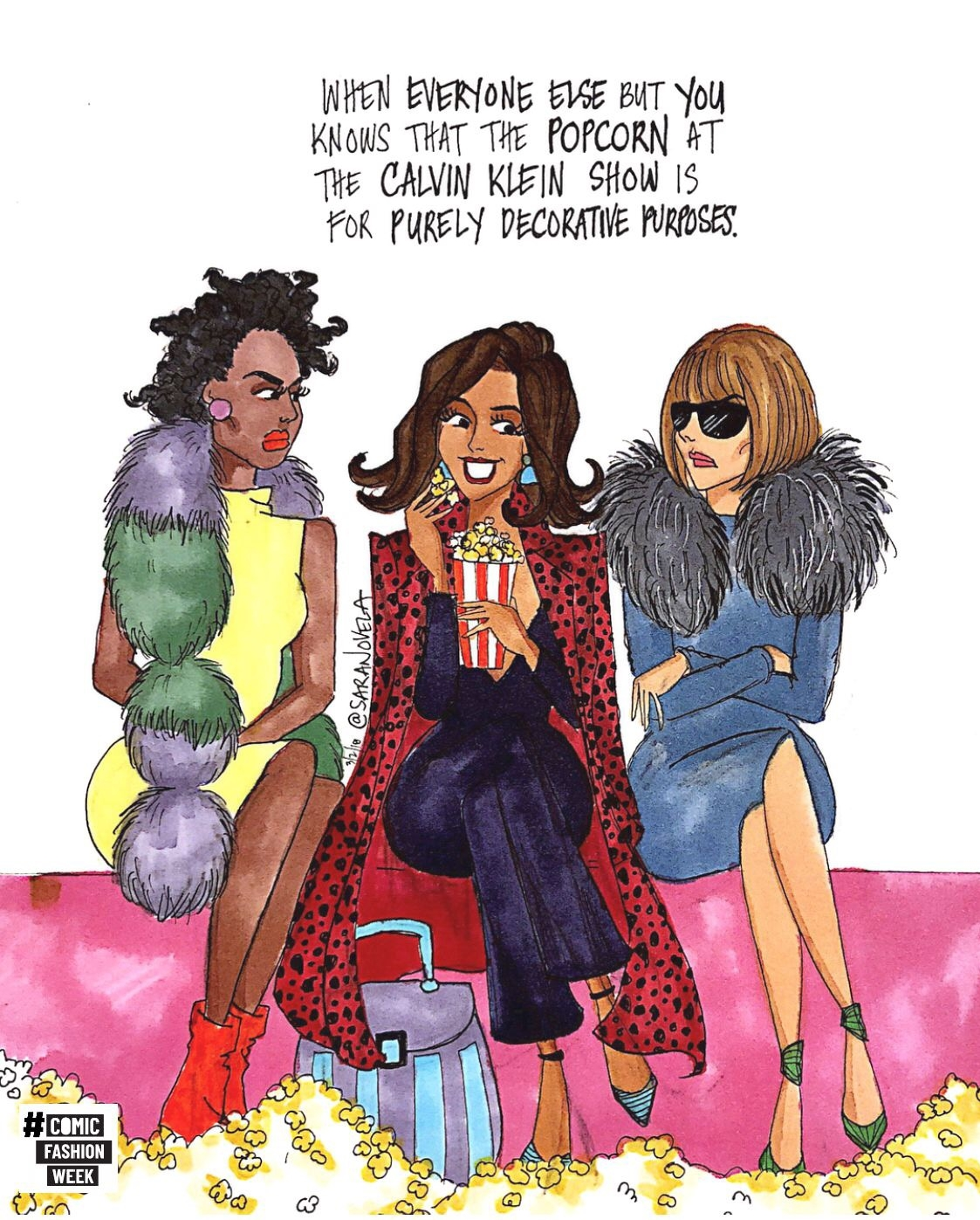 comicfashion week - Two illustrators, seven days, fourteen comics poking fun at Fashion Week Fall/Winter 2018.A collaboration with Mexico-born, Amsterdam-based fashion journalillustrator Talia Cu.