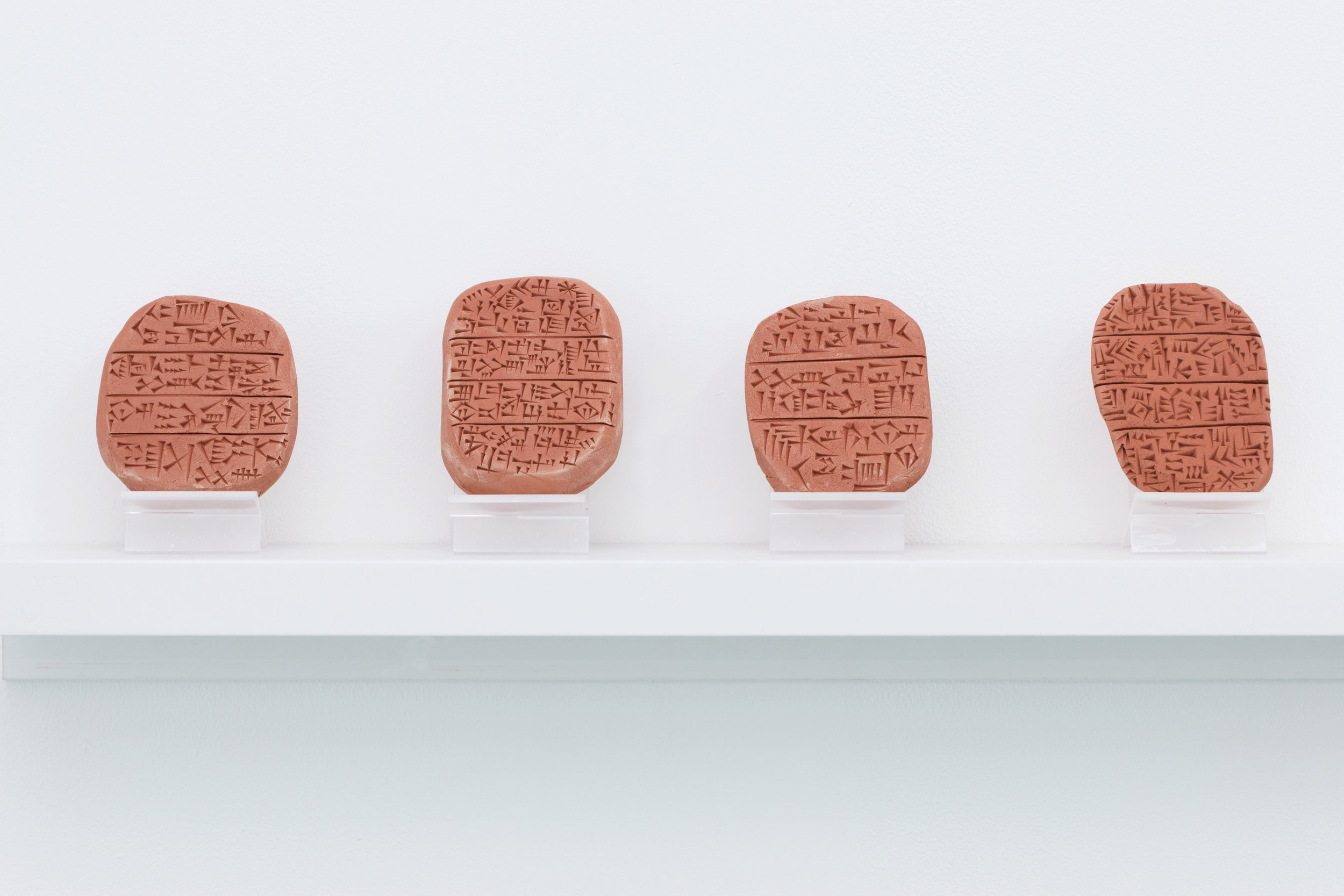 Sheyda A. Khaymaz,  Anthropological Conjectures , baked terracotta tablets, 2017, exhibited in  Something or Nothing .