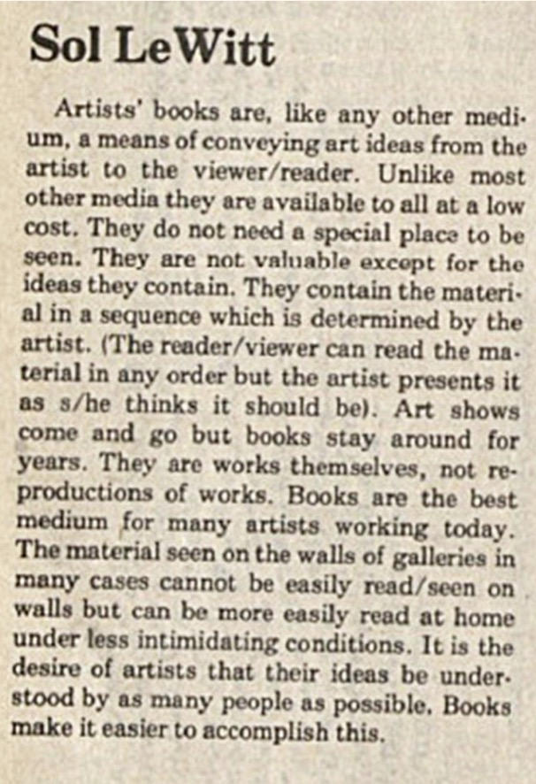 Art-Rite - Sol LeWitt's statement on artists' books. Art-Rite no.14: Artist's Books Issue, January 1976