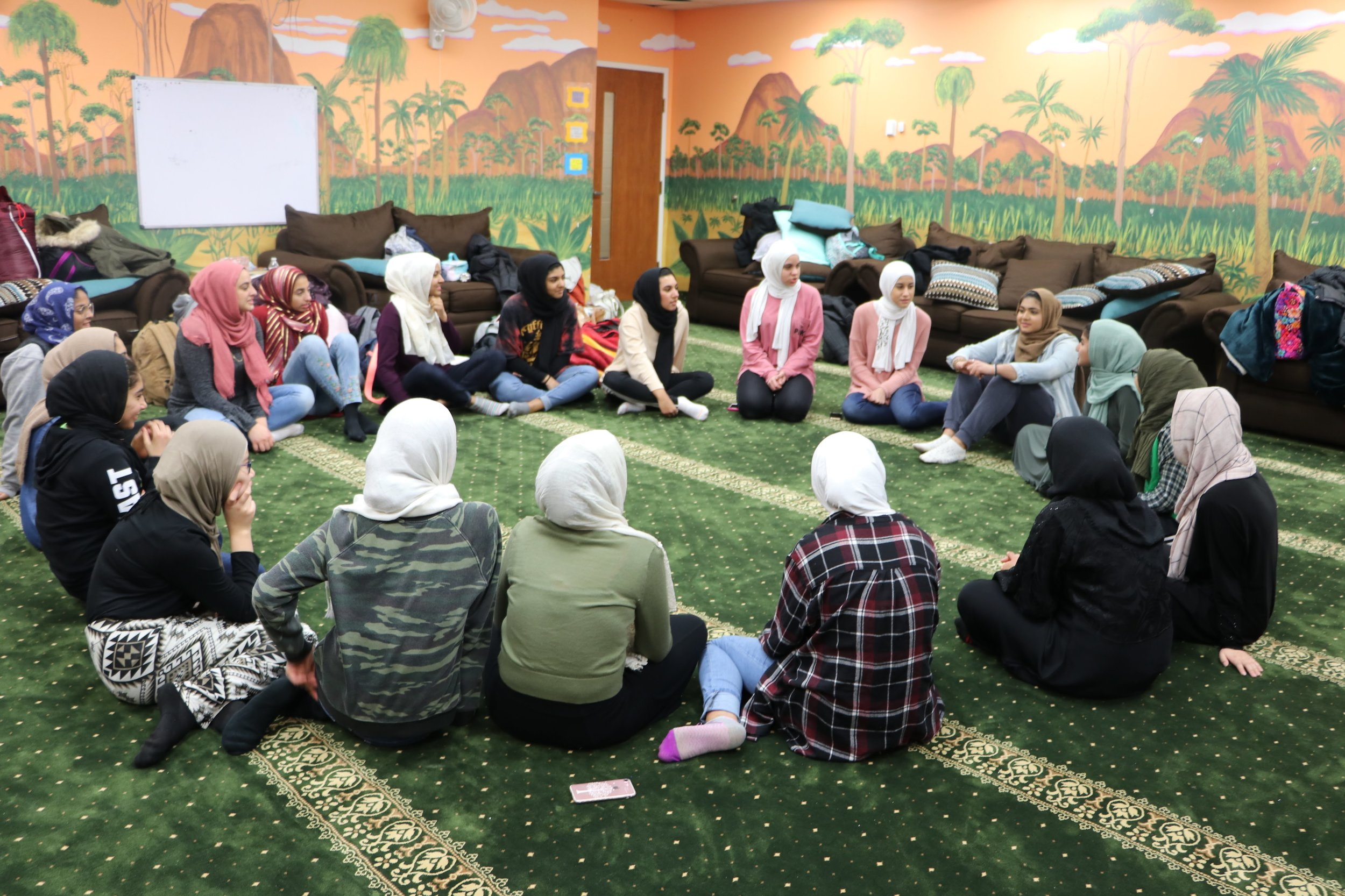 Campers get to know one another through ice breaker activities on the first night of the qiyam.