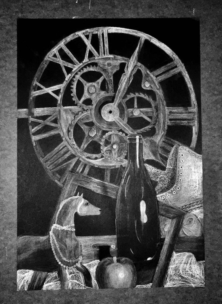 Title: Still Life  Medium: Black paper with White and Black Charcoal Pencils