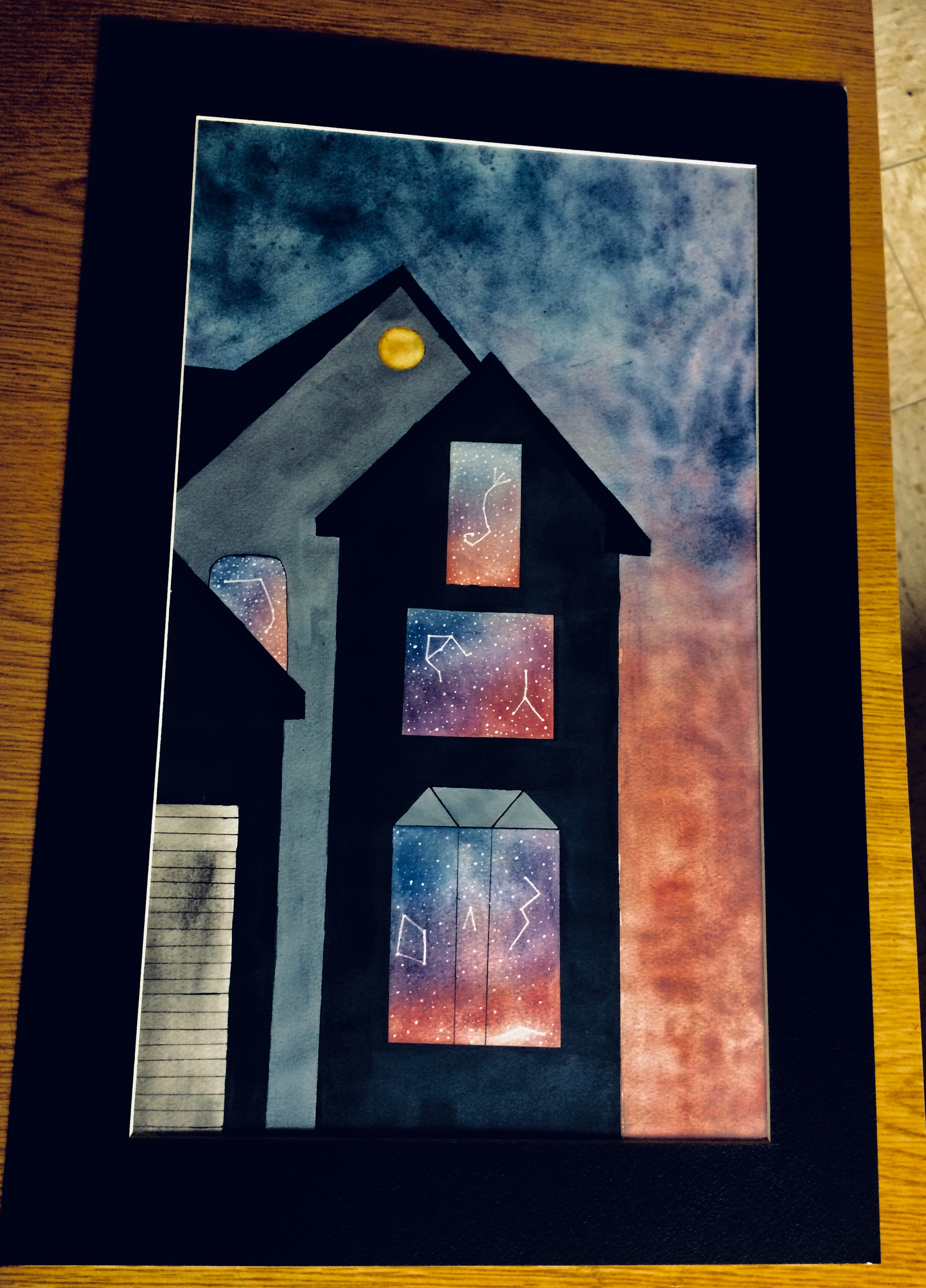 I enjoy incorporating the idea of space and time into my pieces and felt a galaxy theme in the windows of my house reflected that idea. It's really up to the viewer on how they interpret it in the end.