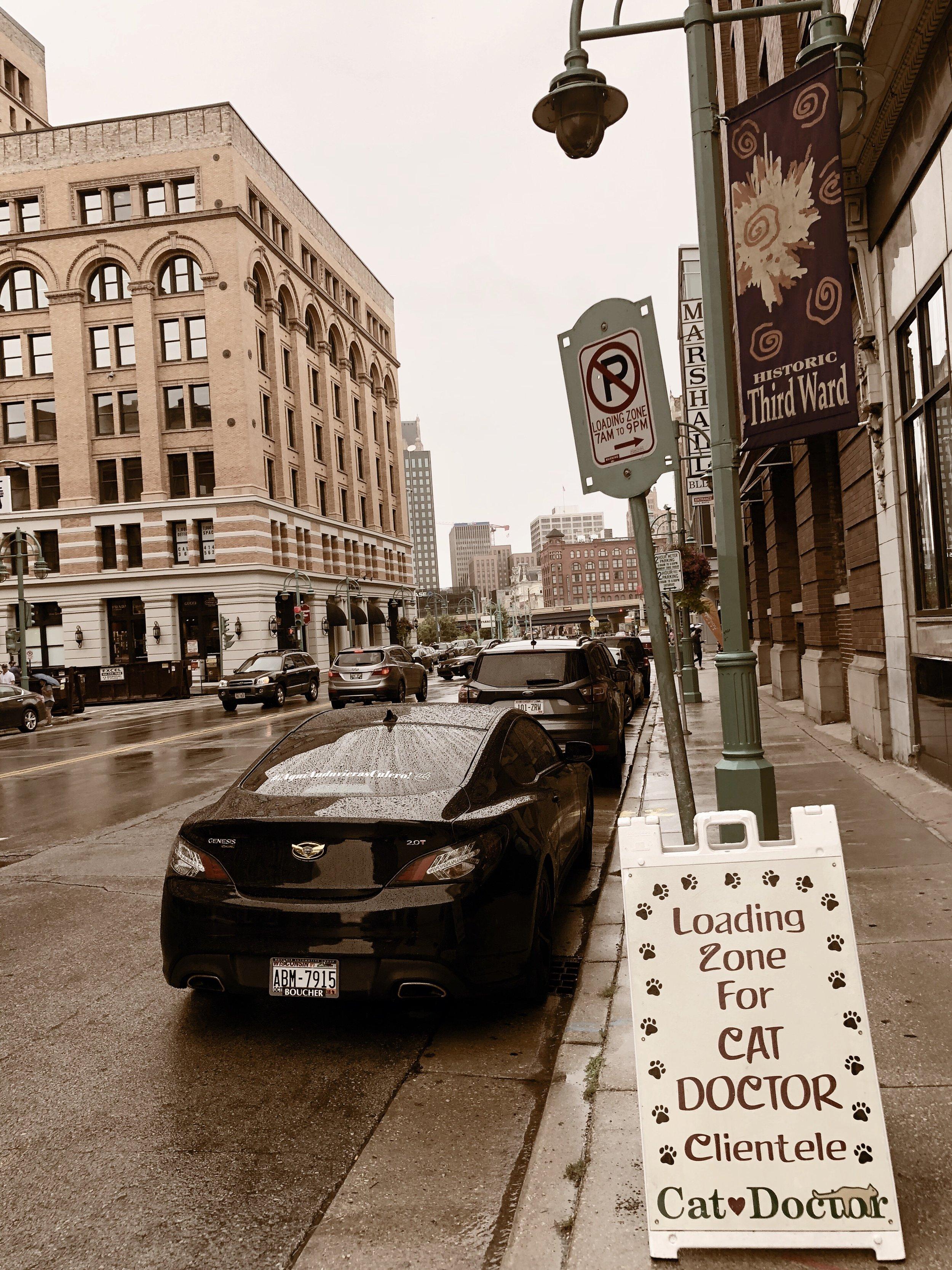 Seen on a rainy day in downtown Milwaukee's Historic Third Ward.   Milwaukee, Wisconsin   8.17.18