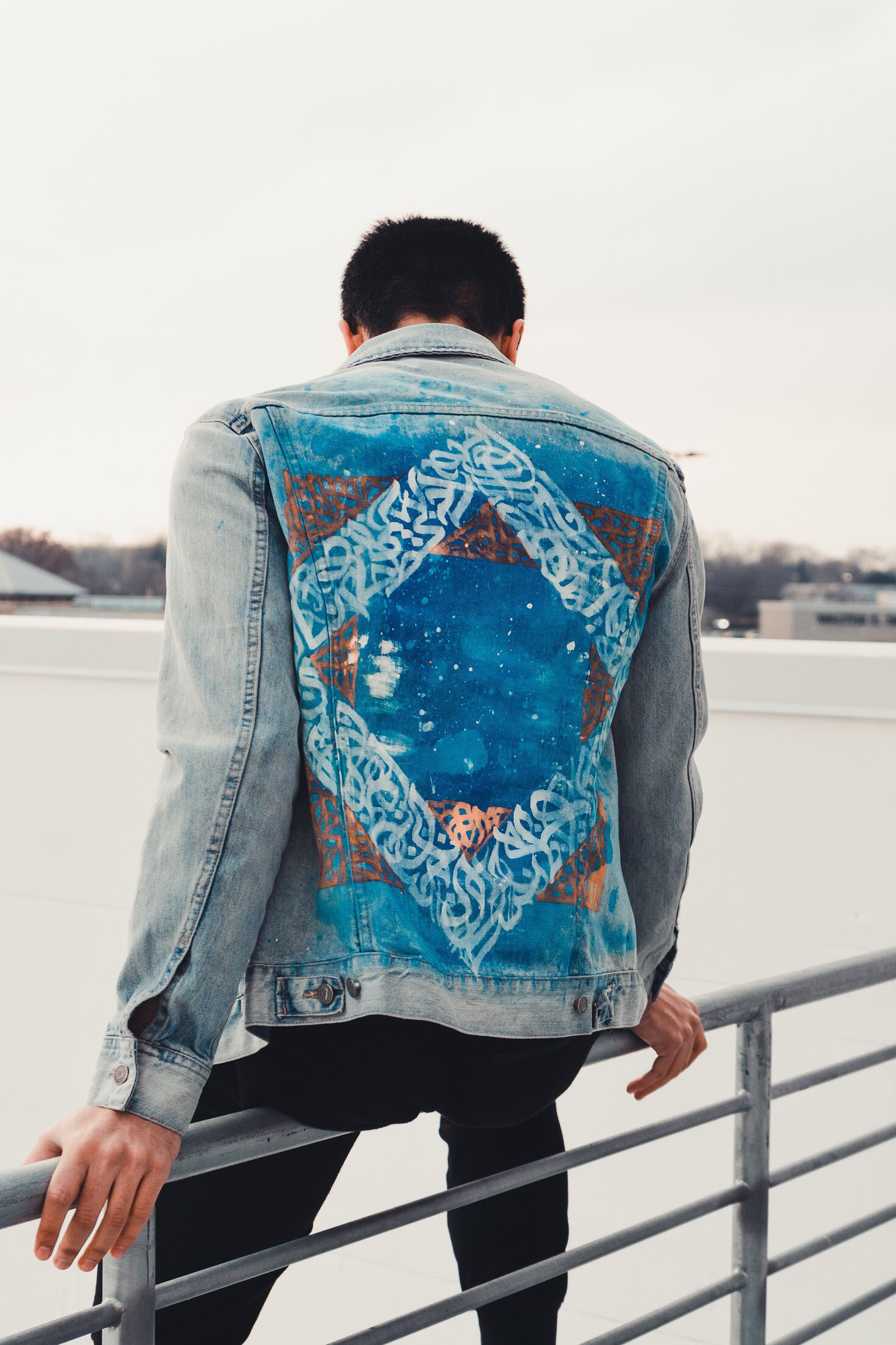 """""""Arabic Calligraffiti in Geometric Pattern on a Denim Jacket: 'and what would you do, in your infinite knowledge?'"""""""
