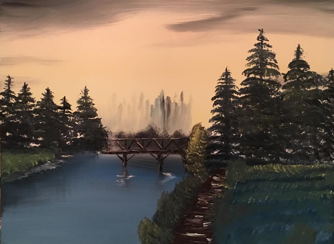 This piece is an oil painting of a natural landscape.