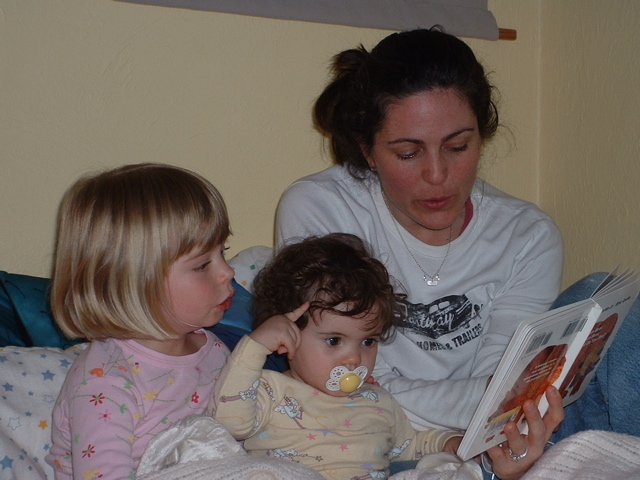 Ruby signs HORSE 14 months (with author's daughter and sister).jpg