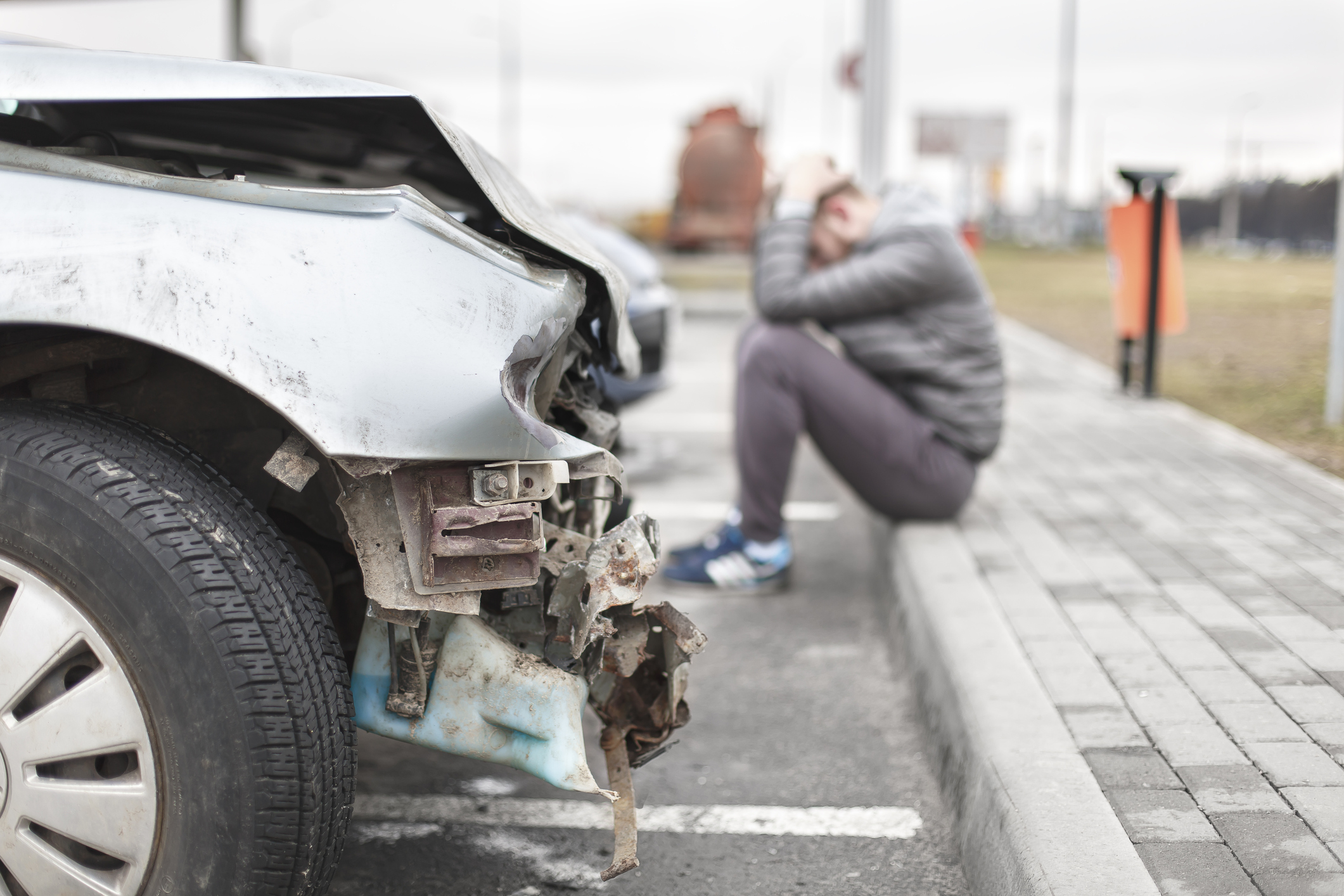 Woman in car accident with whiplash