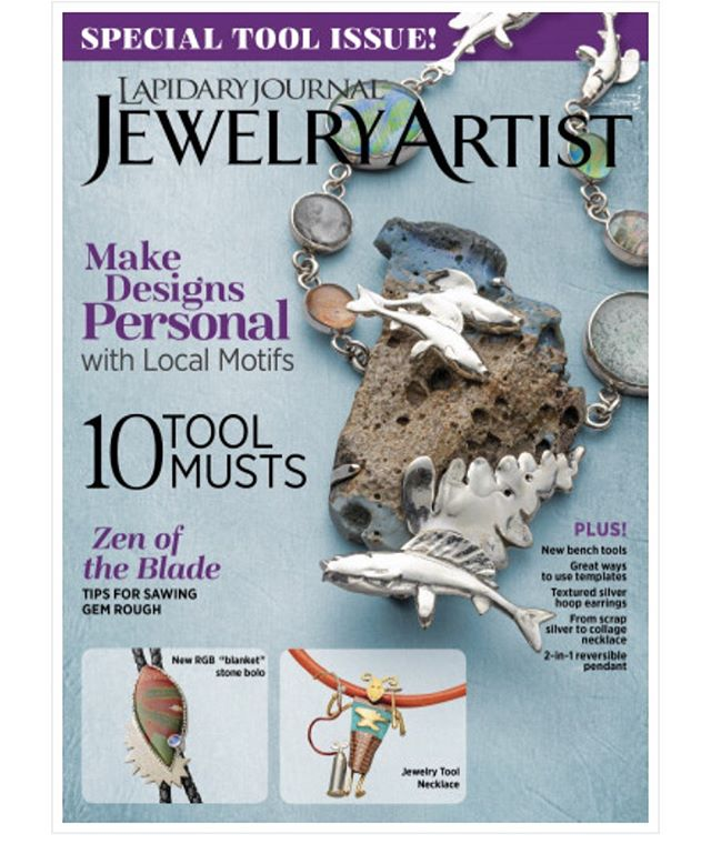 Check out the new issue of Lapidary Journal. My buddy @artist_jeff_fulkerson has a project piece in the issue and used my Stinger Riveting System to attach the bail. Thanks Jeff. @interweavejewelry  #artisanjewelry #metalsmithingclasses #silversmith #jewelrymaking #jewelrytools #rivet #instajewelry