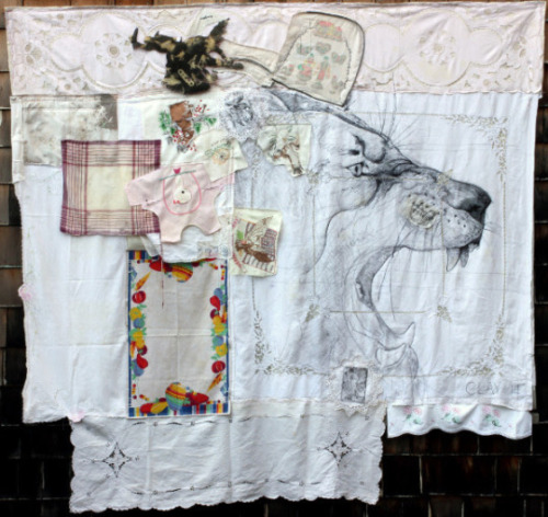 Image: Ear of the Horse. 2014. Ink, pencil, acrylic paint, embroidery, and safety pins on cloth, quilted with assorted batting. 78 x 80""