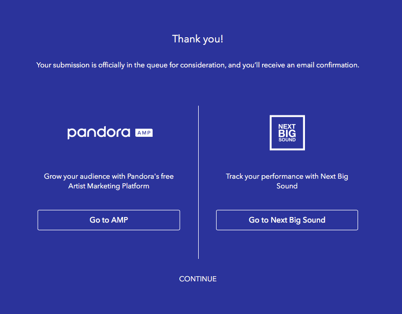 Screenshot of post submission screen