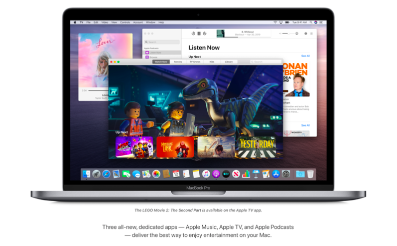 Apple Music, Apple TV, Apple Podcasts apps in Catalina (pictured)