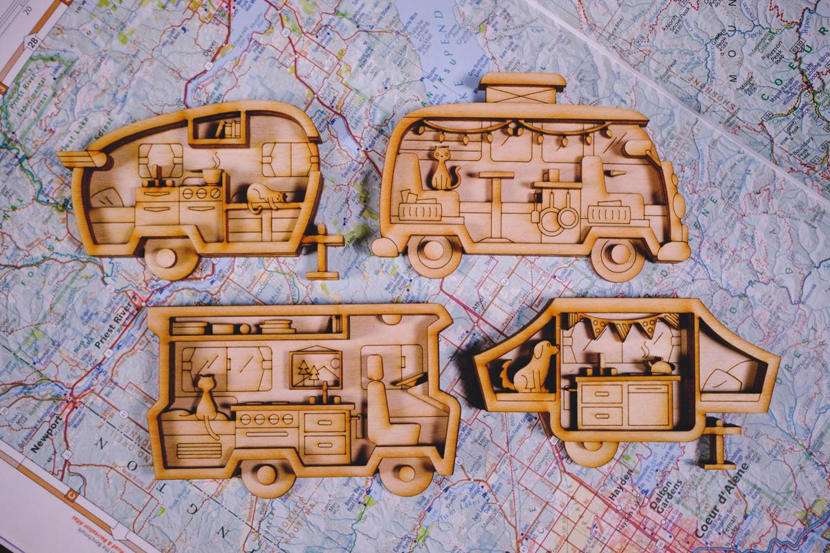 Laser-cut camper magnetS