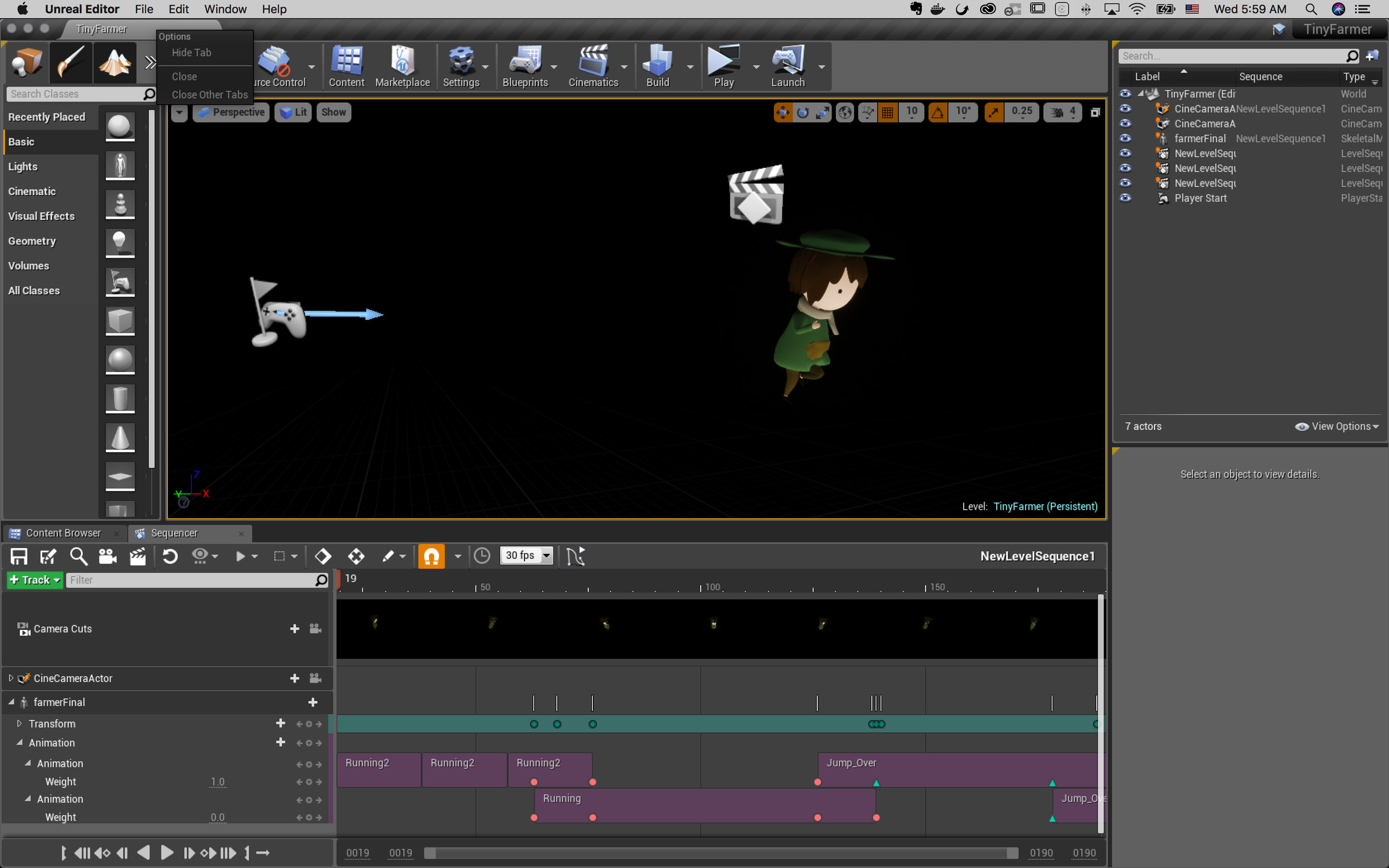 Use Unreal sequencer to combine animation clips