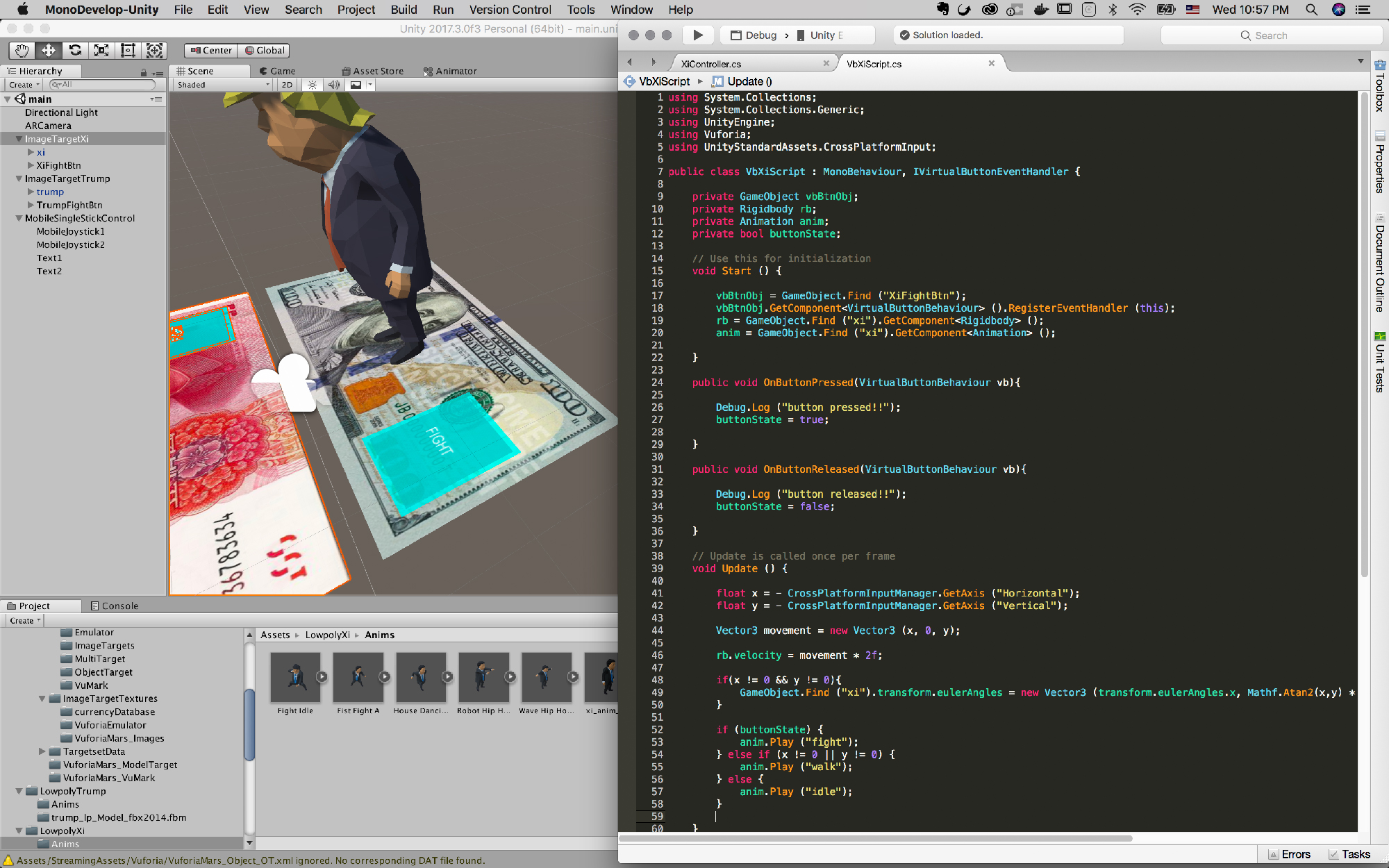 Create virtual button script