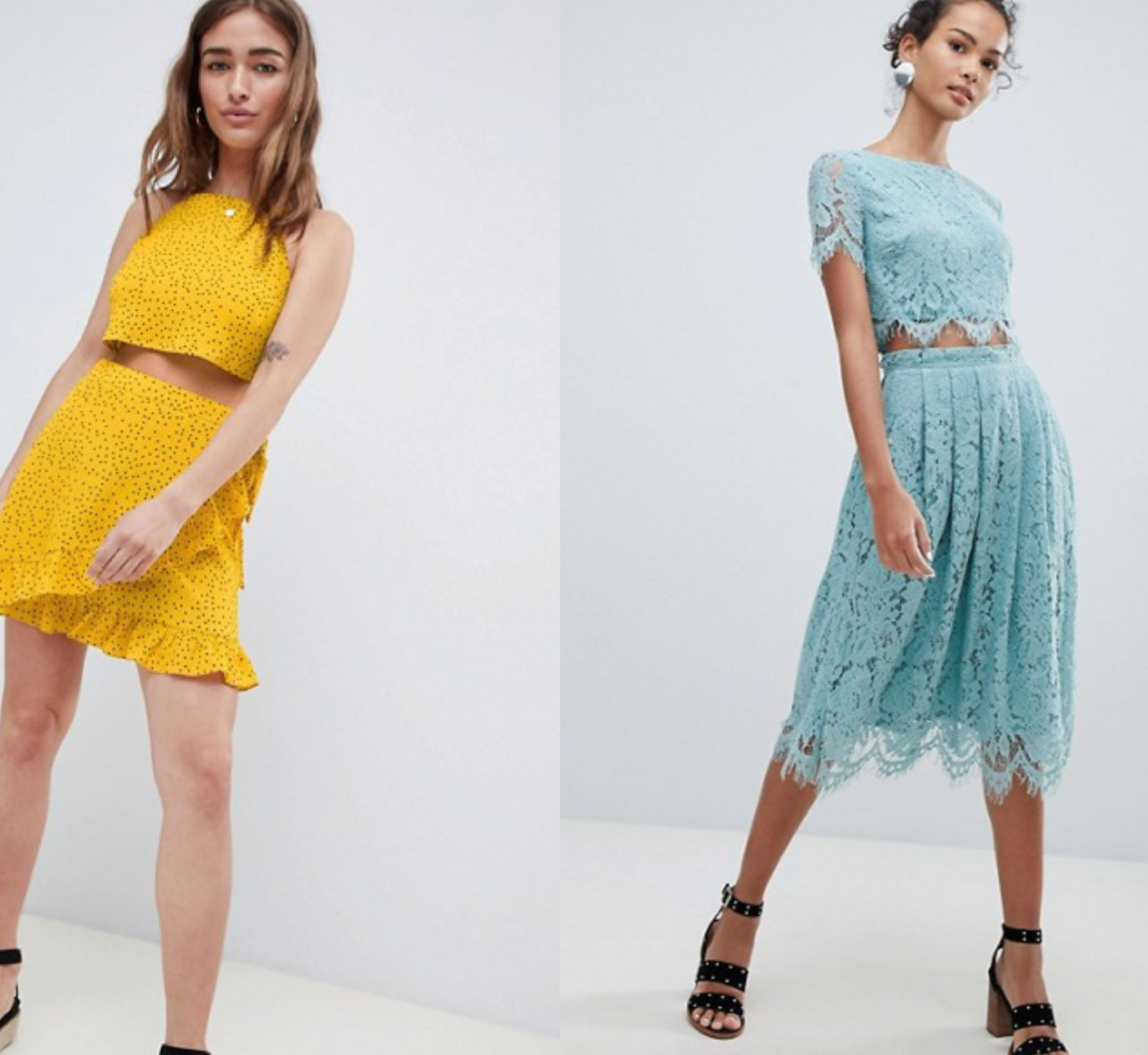 shop the look - ASOS- Glamorous Petite High Neck Crop Top & Mini Skirt In Ditsy Spot Co-Ord (left) New Look Lace Co-Ord Midi Skirt (right)