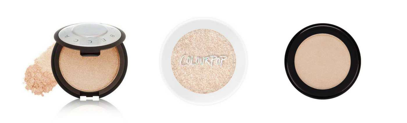 Becca Pressed Shimmering Skin Perfector in Moonstone   Colour Pop's Super Shock Highlighter   Smolder Cosmetic's Illuminator