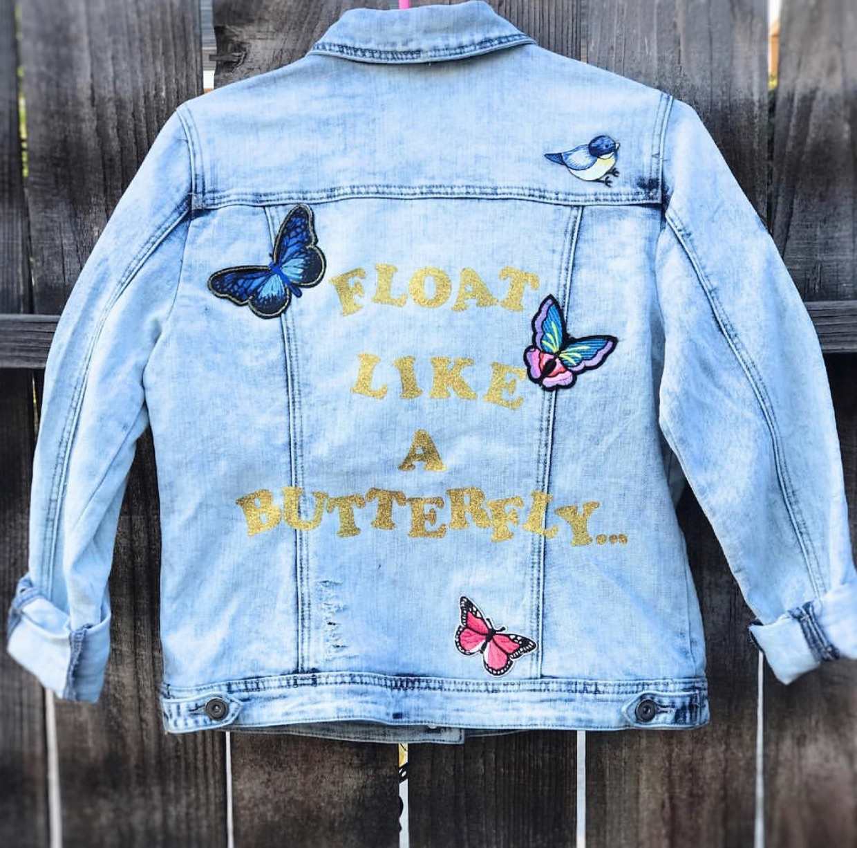 A combination of butterflies and Muhammad Ali's well known phrase was the inspiration for this piece. -