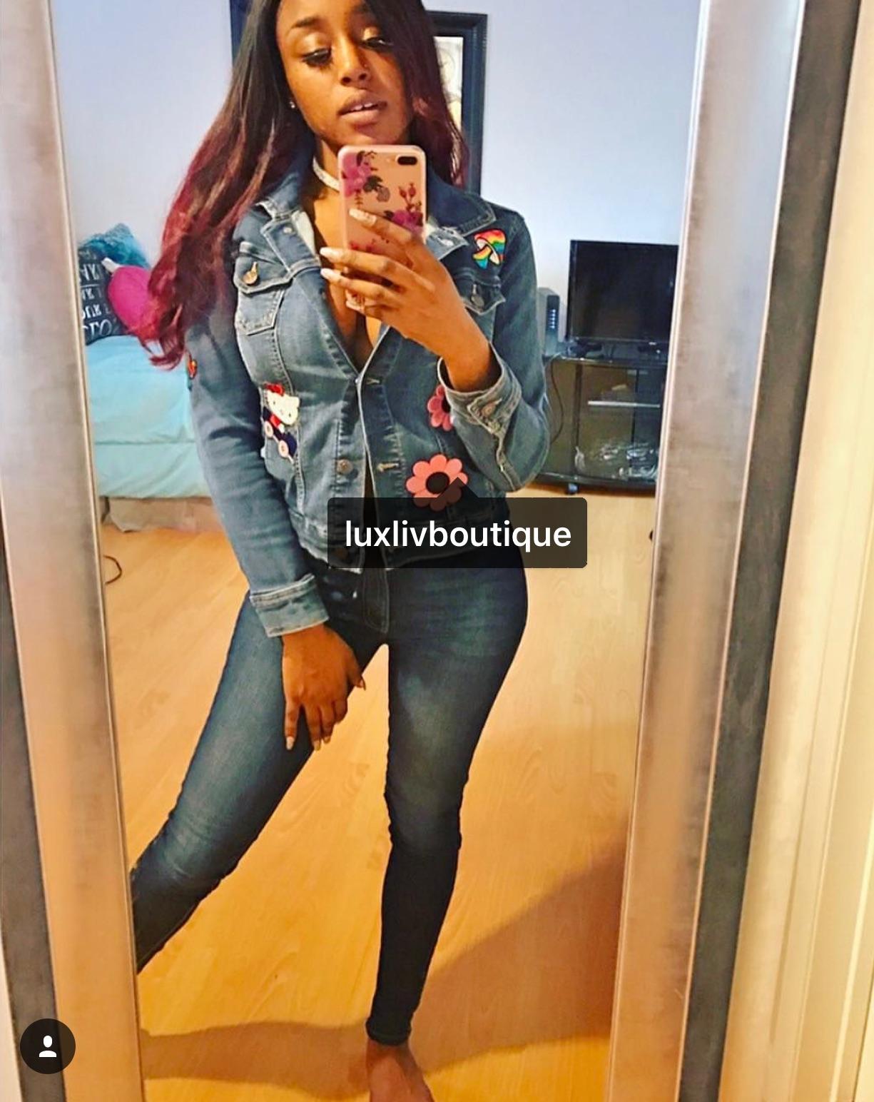 @brandnewbarbie in a fun and colorful Hello Kitty themed custom denim patch jacket -