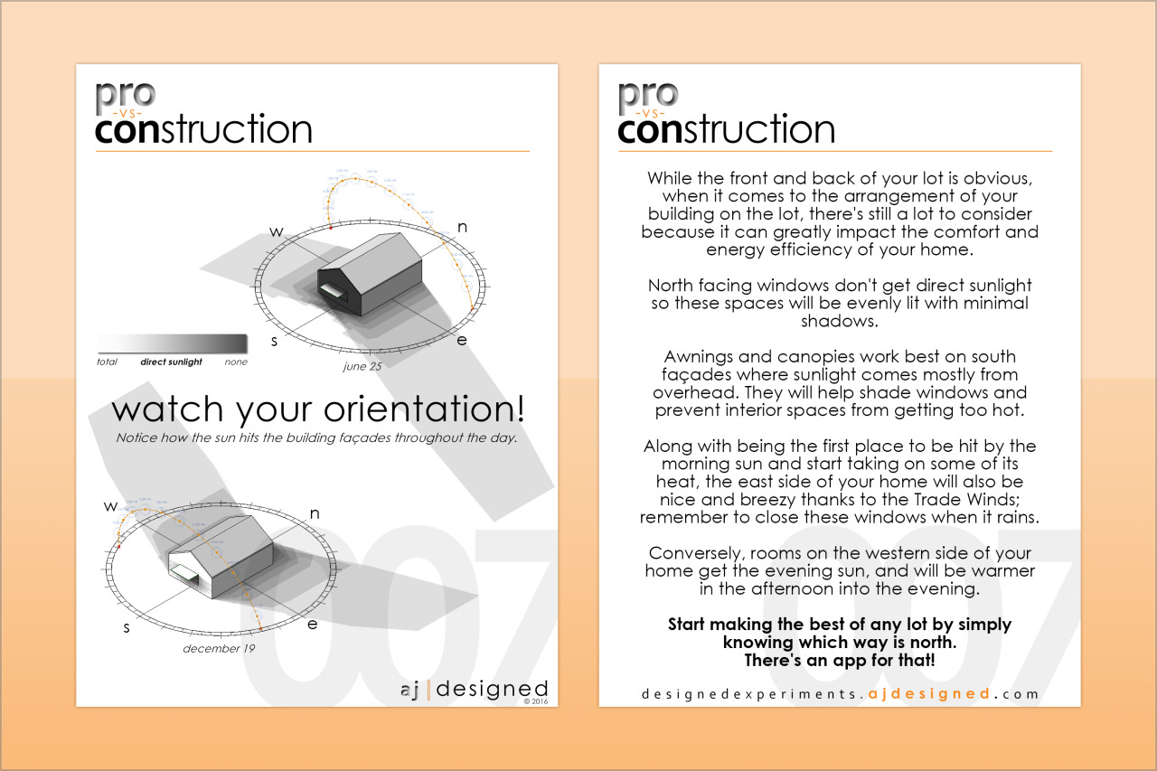 007 Watch Your Orientation  Pay attention to which way is north on your site, it can begin to inform the best ways to arrange your spaces in your new home.