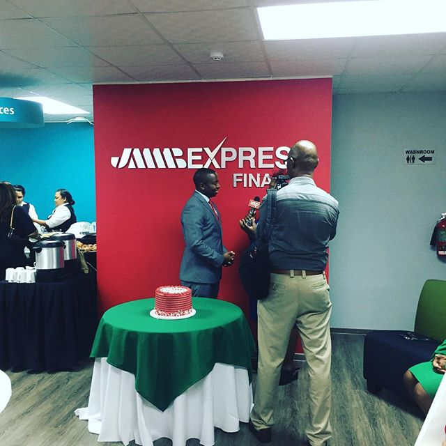 JMMB Express Finance 🎀 cutting. I don't always do commercial work but I can't resist a small space redesign, plus I gotta help my brother. Congratulations bro!!! Big day for you #jmmb #jmmbexpress #ajdesigned