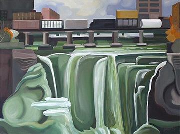 HIGH FALLS WITH TRAIN AND MIST, SOLD