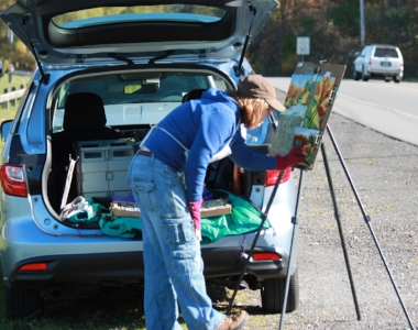 Painting roadside at Durand Eastman Park