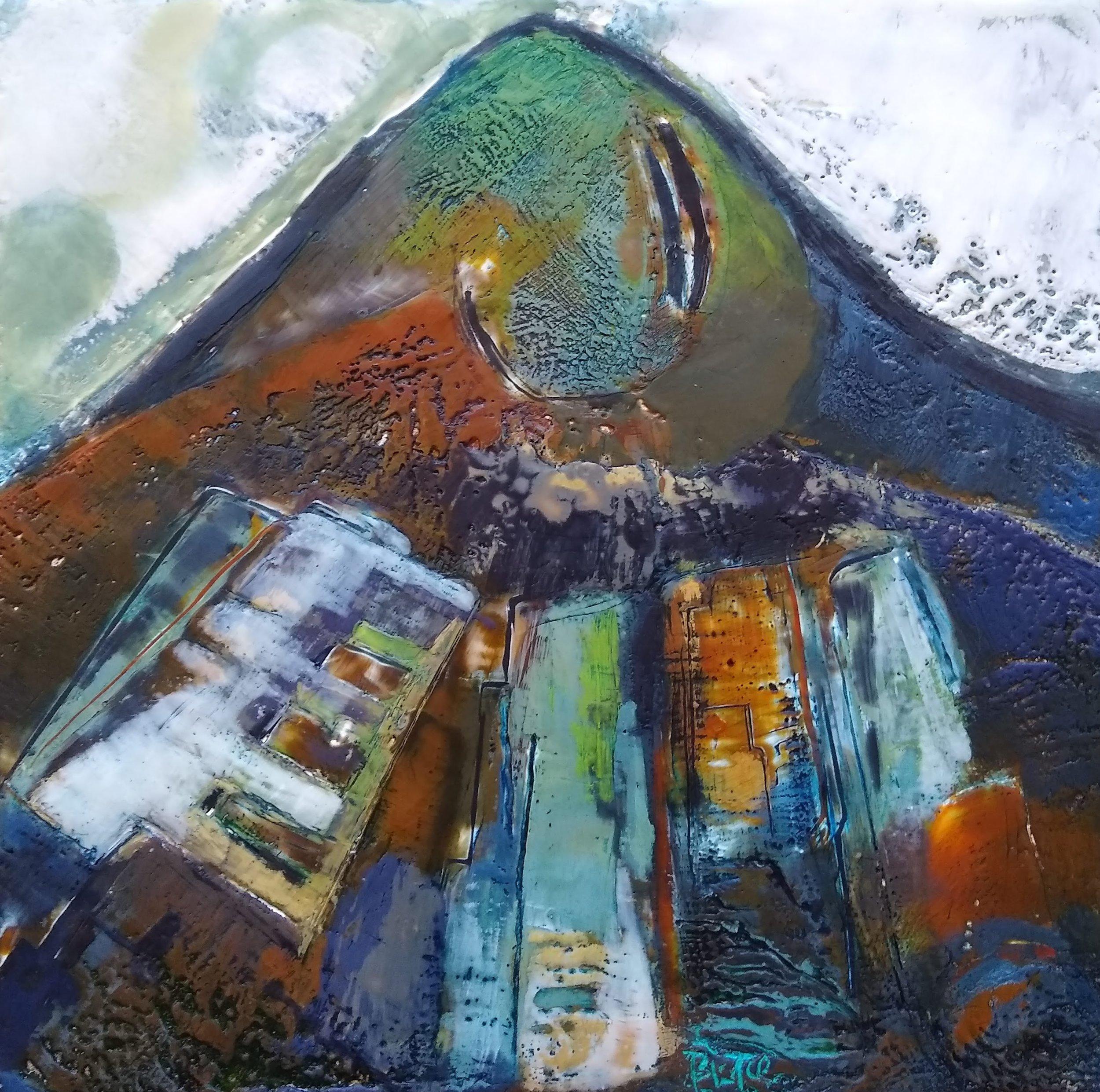 """""""Belderrig Hillside Bog"""" encaustic wax, 10x10"""