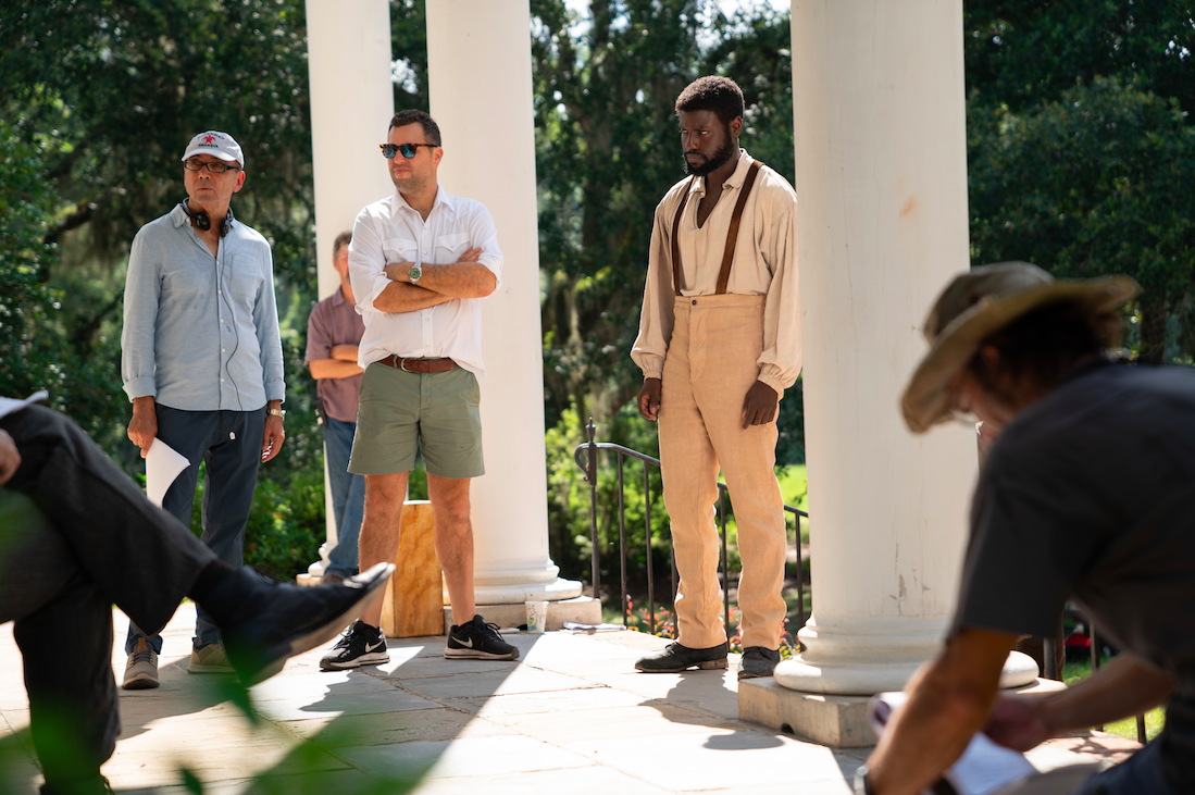 Director Mark Amin (L), DP Jeremy Rouse (C), and Star Dayo Okeniyi (R) in Emperor (2019)