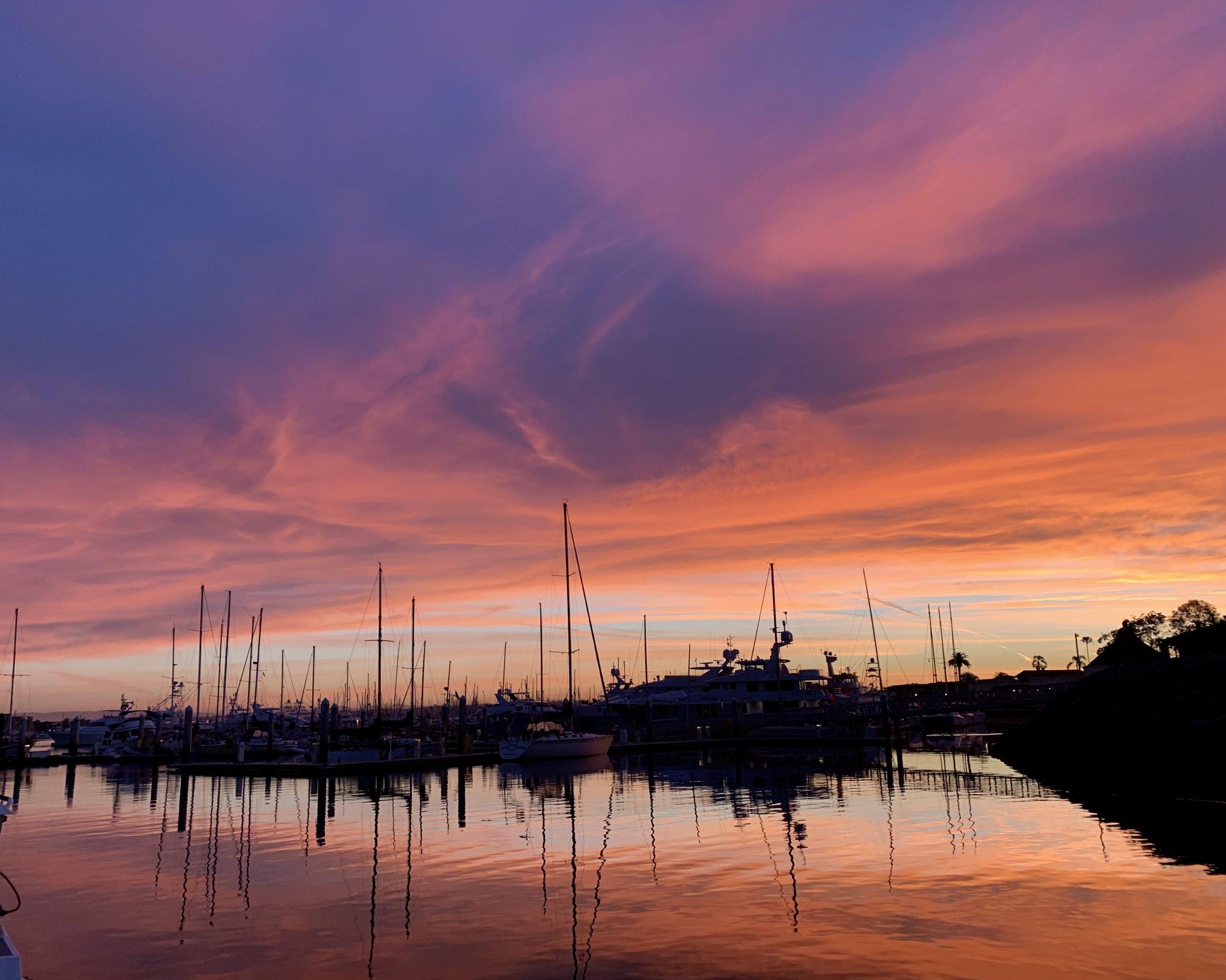 sunrise at the public docks in San Diego