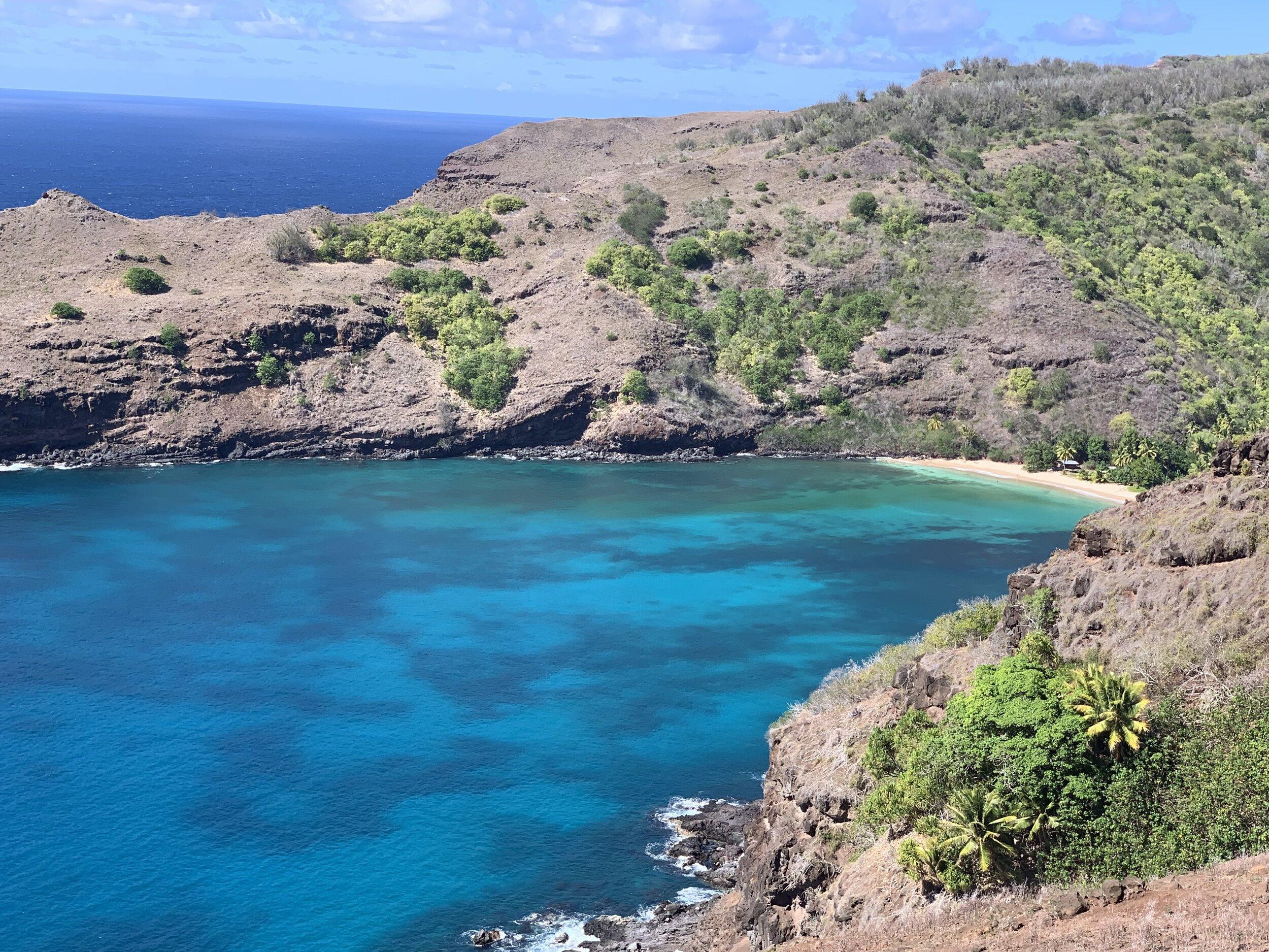 First view of Hanatekuua Bay, Hiva Oa.