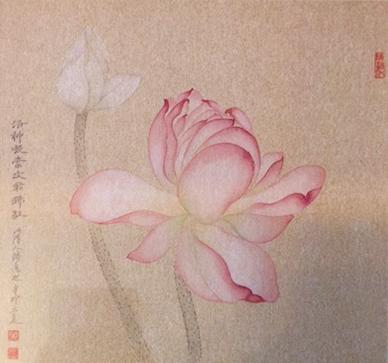 Pink Lotus Bloom with Single Bud