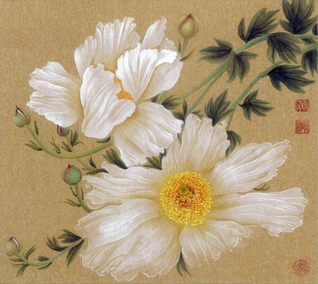 "Matilija Poppies No. 2, 2008; ink and color on gold Japanese boa  rd, W: 10.5"" H: 9.5"""