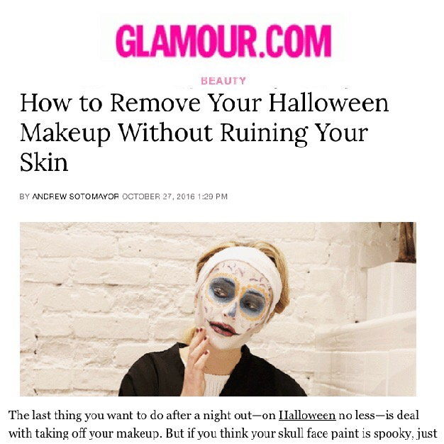 Glamour.com: How to Remove Your Halloween Makeup Without Ruining Your Skin
