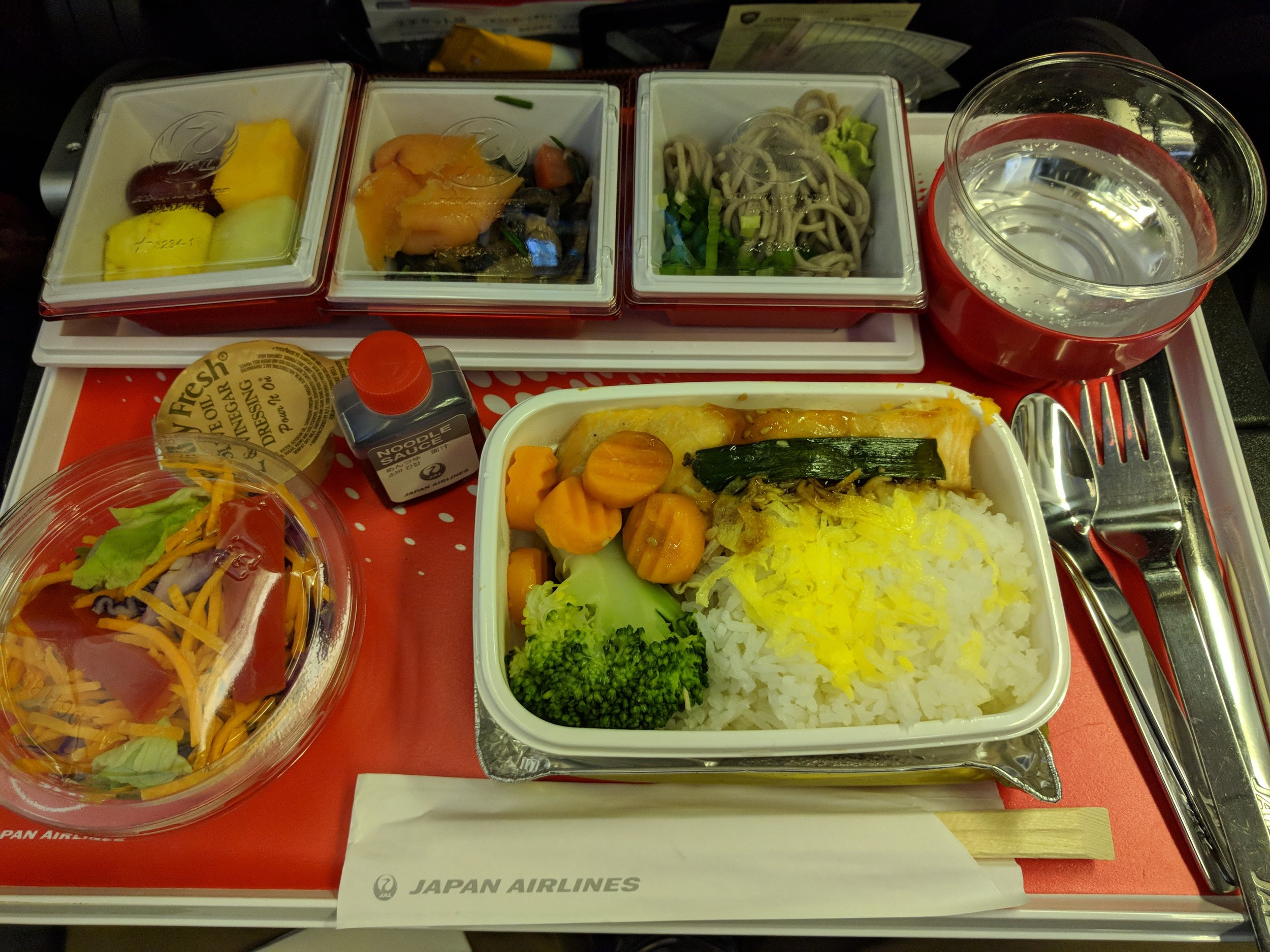 The first meal of the flight.