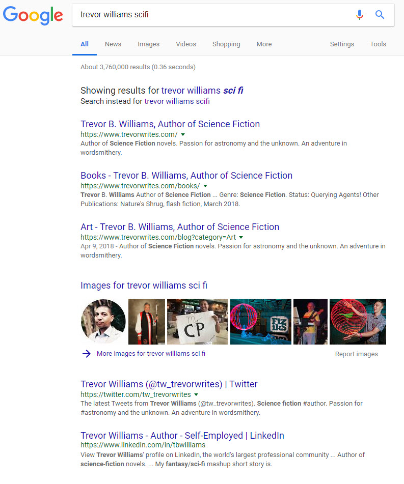 Search results when using my full name + scifi