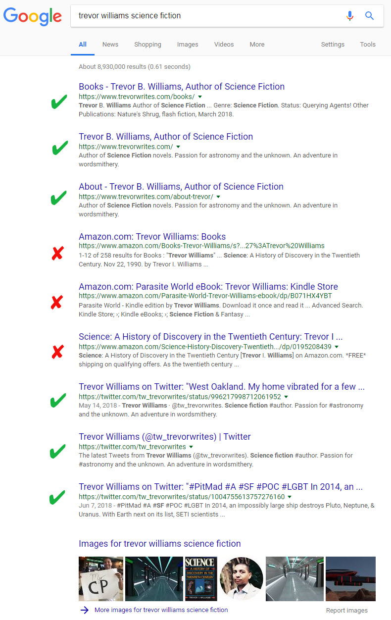 Search results using my full name + science fiction