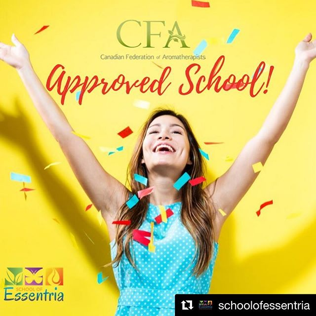 CFA 🙌 Approved School!  @schoolofessentria ⠀ CFA is the largest professional aromatherapy association in 🇨🇦Canada! They were established in 1993 and hold some of the highest educational standards in the world. Naturally that's why getting accredited took a little time 😉.⠀ ⠀ When you study with us, you can qualify for membership in both 😊 the CFA and NAHA!⠀ ⠀ We bring over 27 years of accredited knowledge 😮 and share what we learned from aromatherapy leaders 👩🏫 and experts all over the world 🌎!⠀ ⠀ And if you sign up for our bundle course we offer an amazing 25% discount 💃.⠀ ⠀ Are you ready to learn from certified professionals⁉️⠀ ⠀ Learn more 👇⠀ https://www.schoolofessentria.com  #canadianfederationofaromatherapists #cfa #aromatherapyschool #naha #essentialoils #aromatherapy #aroma #aromatic #aromatics #essentialoilsrock #essentialoils101