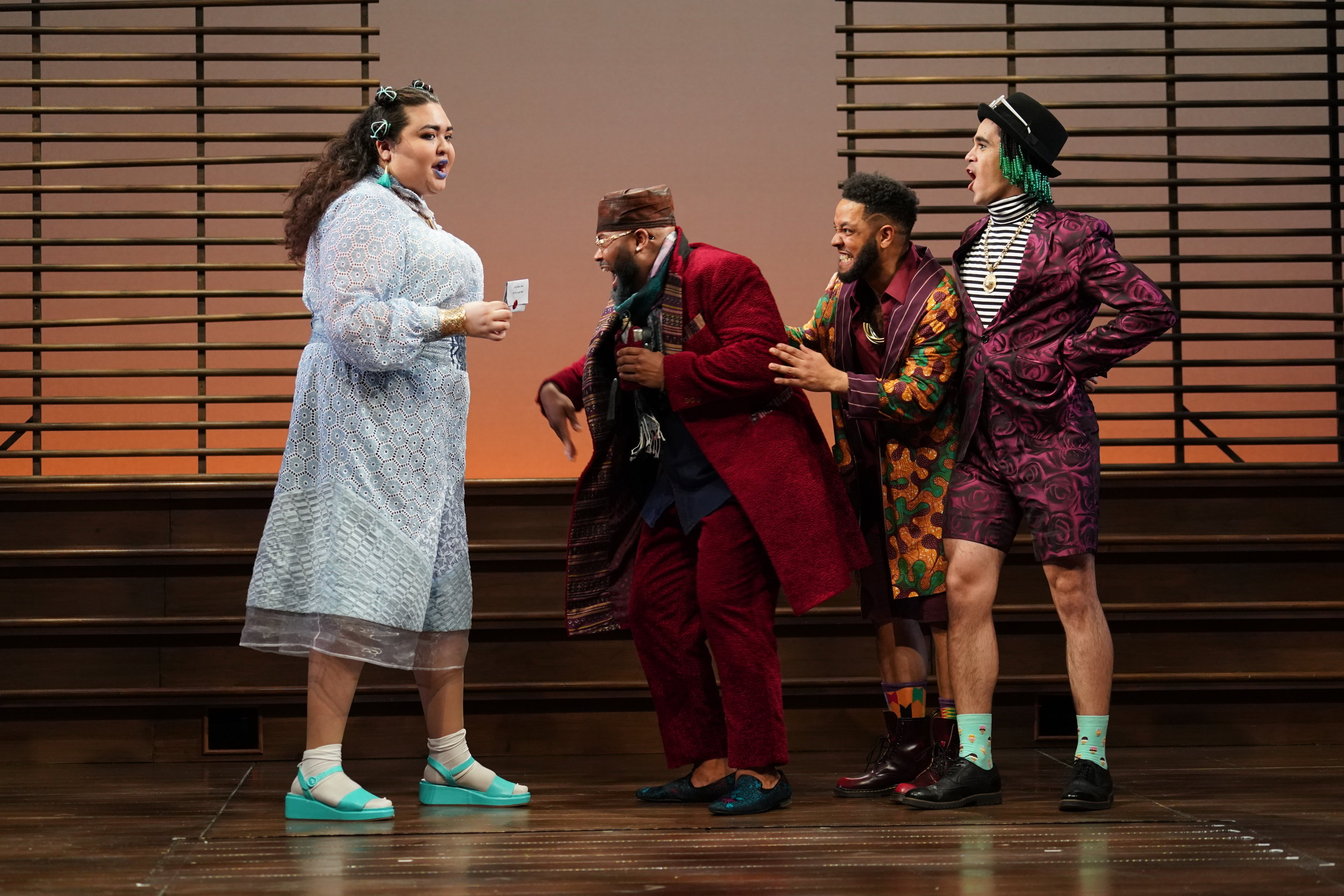 Raffeal A. Sears  as Fabian,  Ilia Isorelys Paulino  as Maria,  Abubakr Ali  as Sir Andrew, and  Chivas Michael  as Sir Toby.