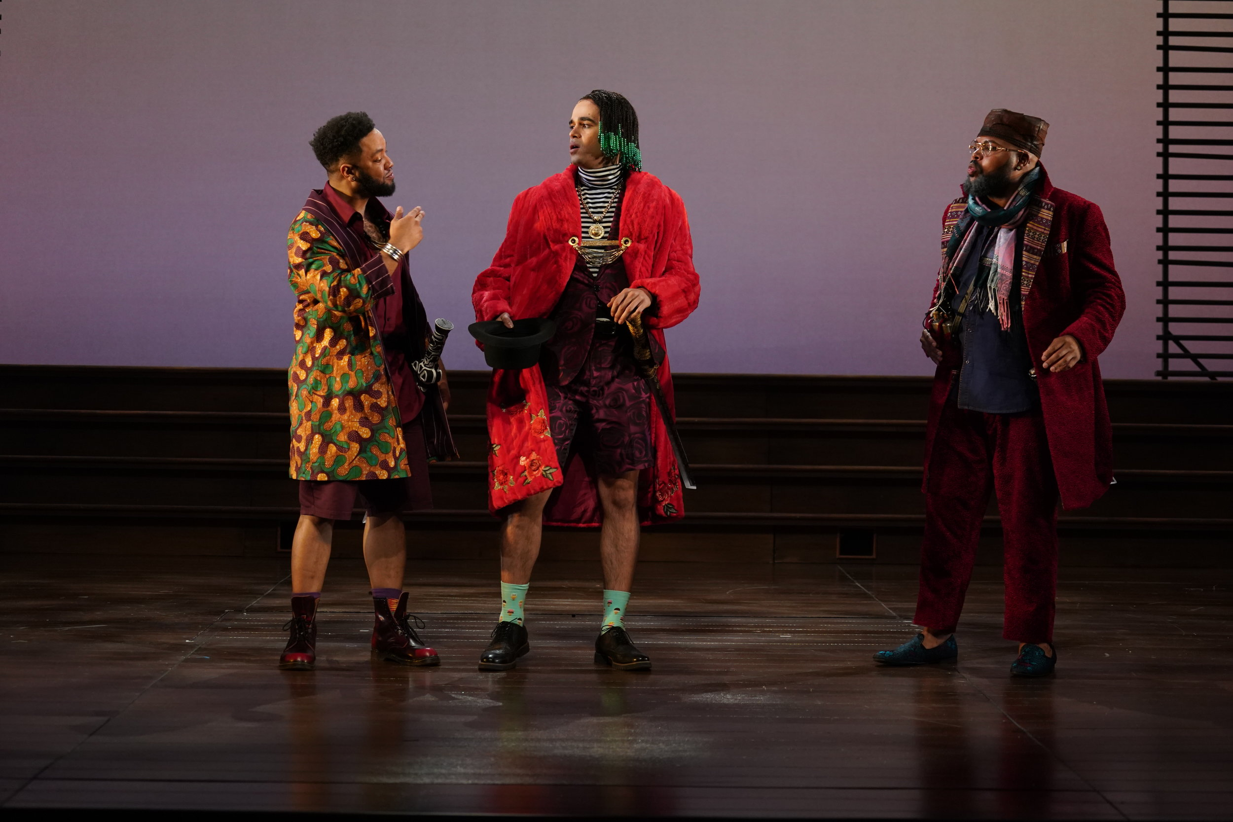 Raffeal A. Sears  as Fabian,  Abubakr Ali  as Sir Andrew, and  Chivas Michael  as Sir Toby.