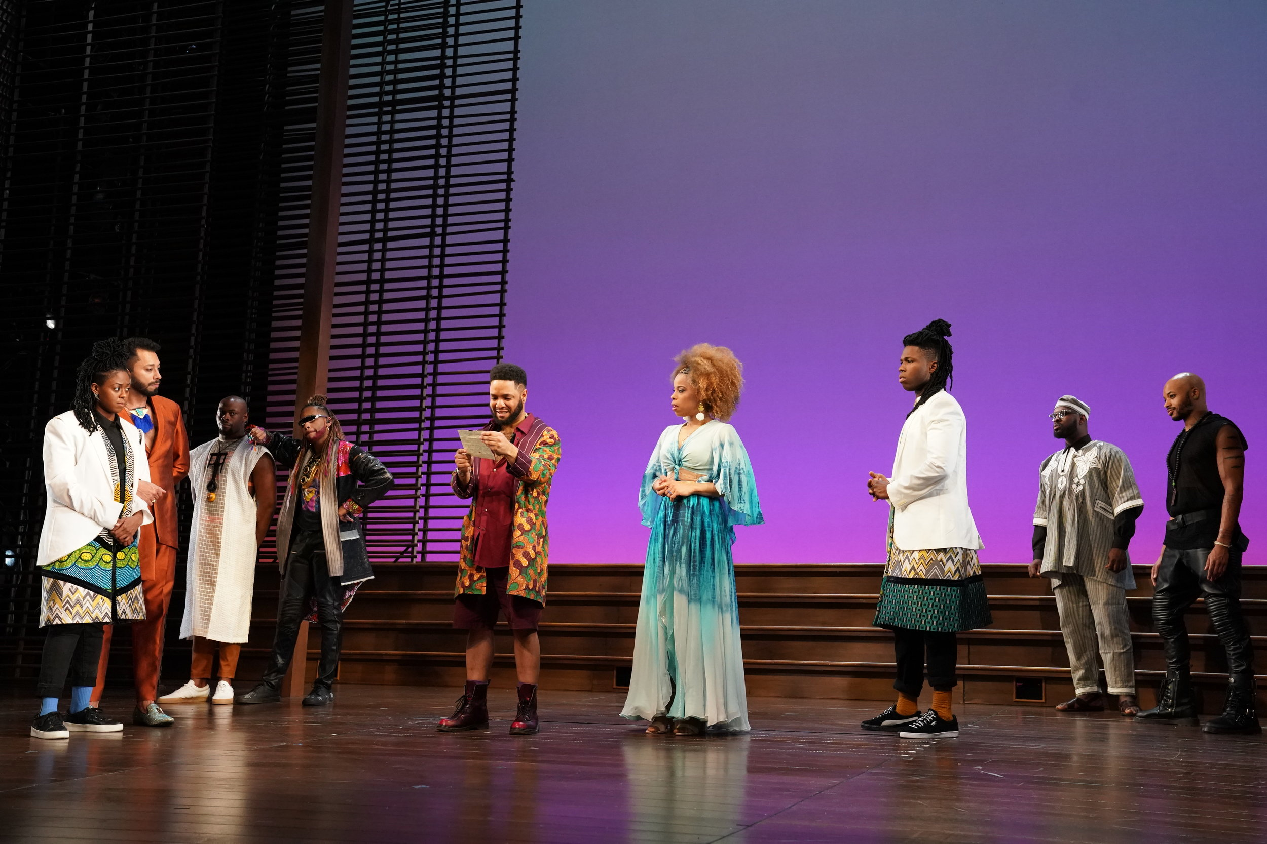 Moses Ingram  as Viola,  William DeMerritt  as Orsino,   Wesley T. Jones  as Orsino Lord,  Erron Crawford  as Feste,  Raffeal A. Sears  as Fabian,  Tiffany Denise Hobbs  as Olivia,  Jakeem Dante Powell  as Sebastian,  Stephon Pettway  as The Priest, and  Manu Kumasi  as Antonio.