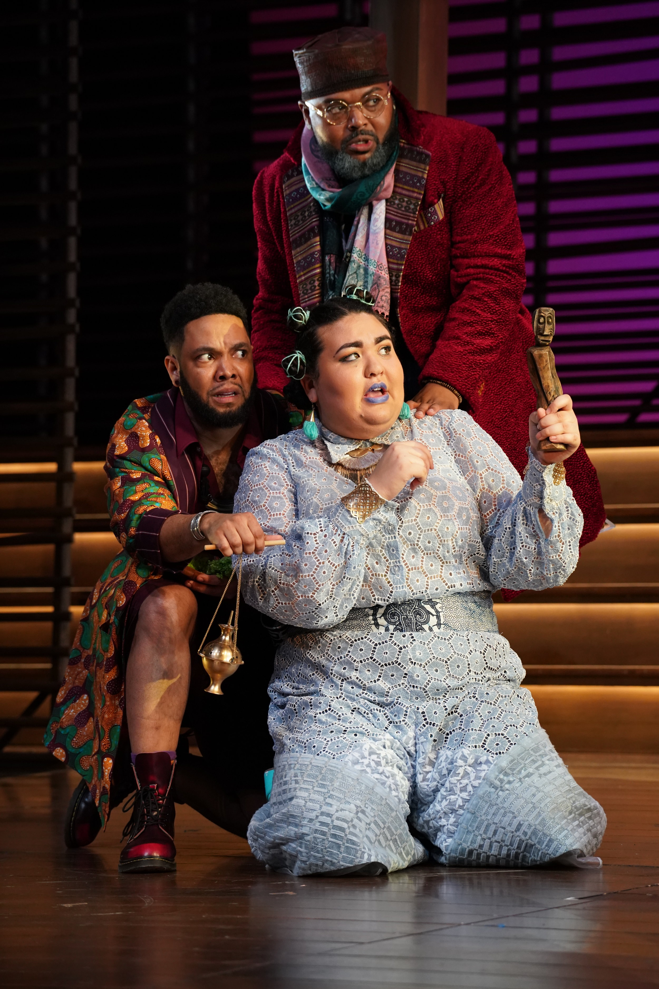 Raffeal A. Sears  as Fabian,  Ilia Isorelys Paulino  as Maria, and  Chivas Michael  as Sir Toby.